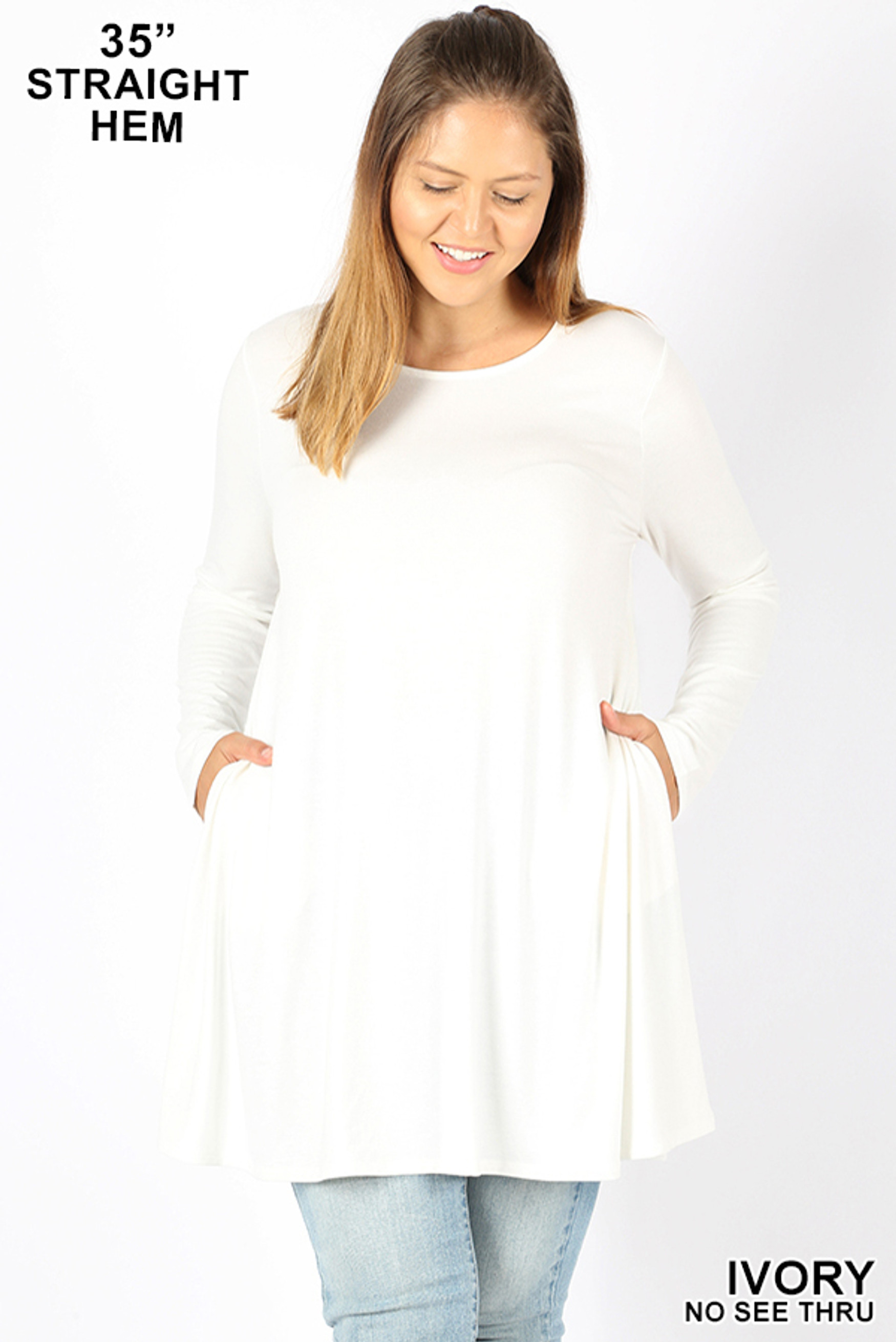 Front of Ivory Long Sleeve Plus Size Swing Tunic with Pockets