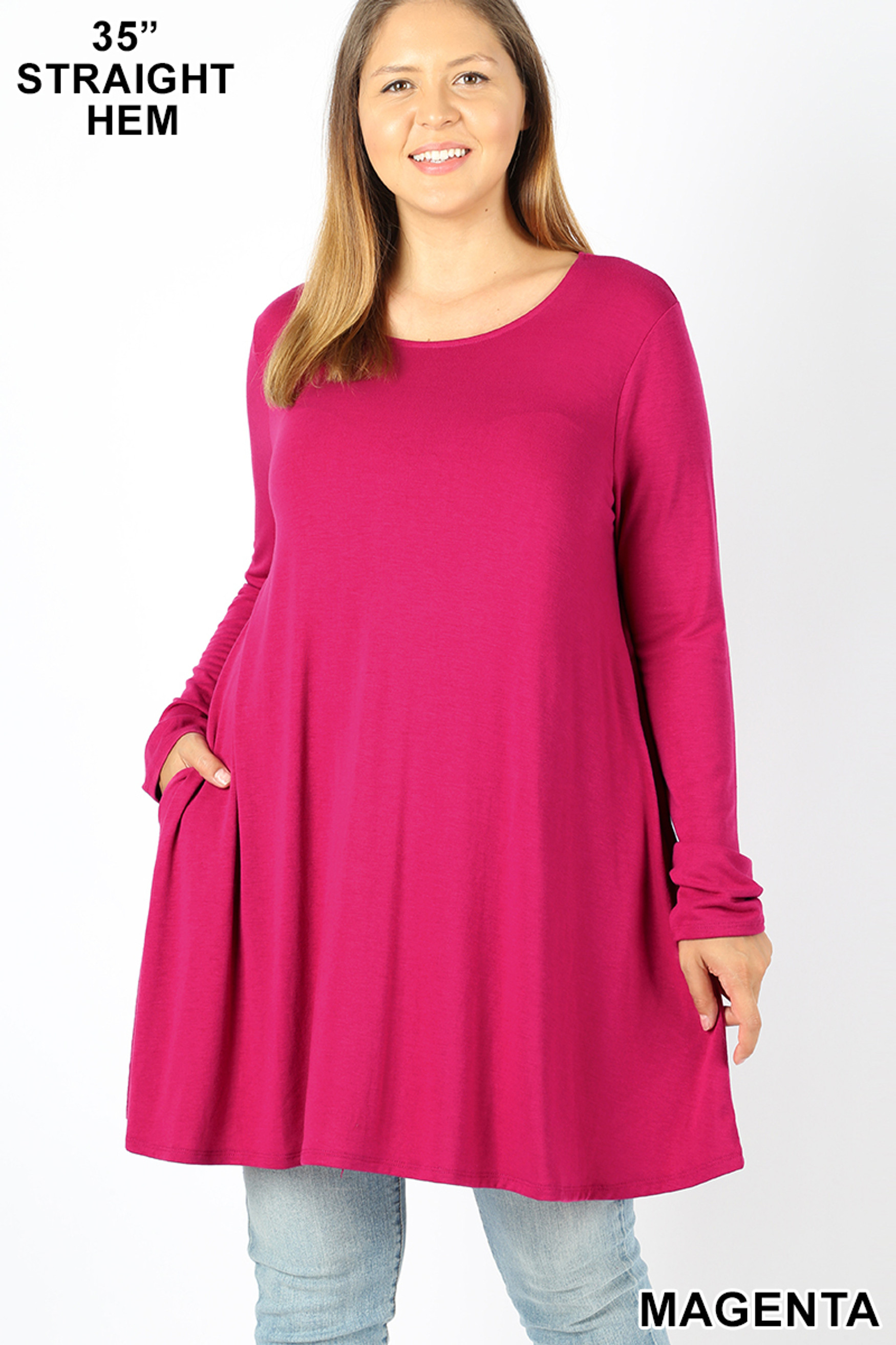 Front of Magenta Long Sleeve Plus Size Swing Tunic with Pockets