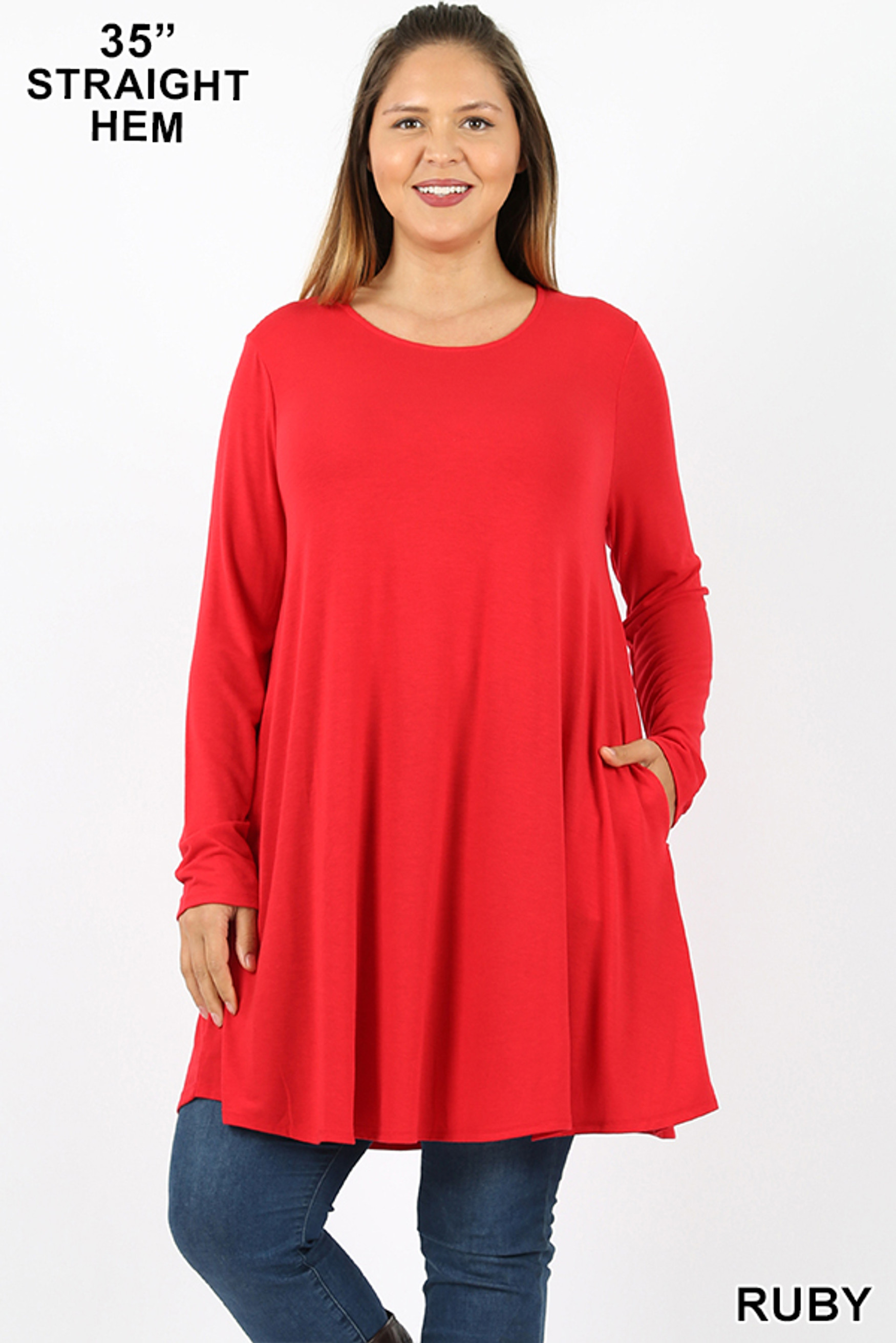 Front of Ruby Long Sleeve Plus Size Swing Tunic with Pockets