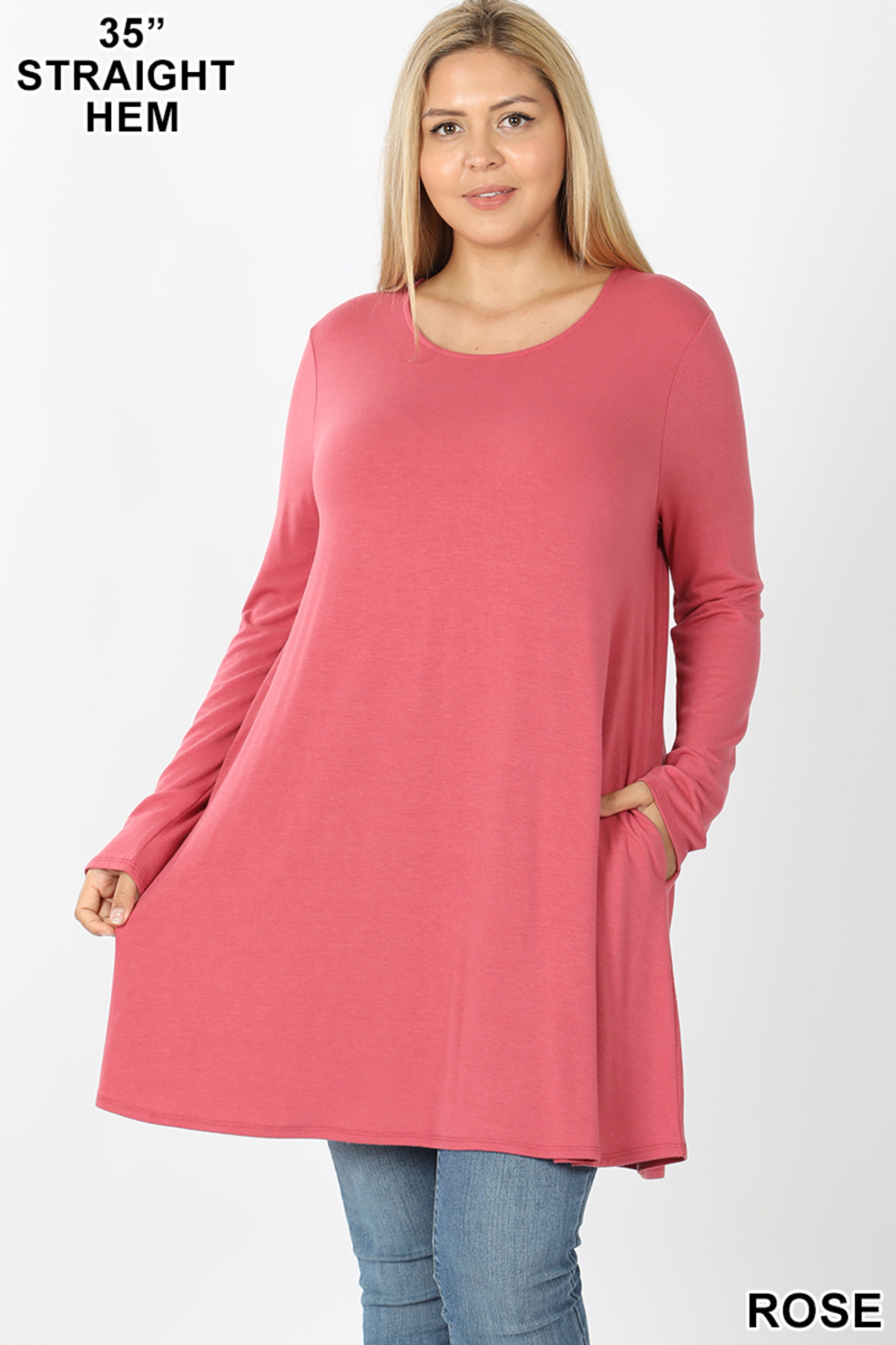Front of Rose Long Sleeve Plus Size Swing Tunic with Pockets