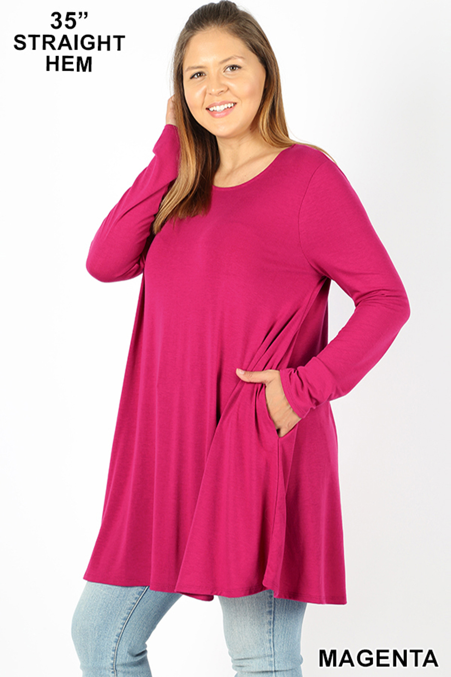 45 degree view of Magenta Long Sleeve Plus Size Swing Tunic with Pockets