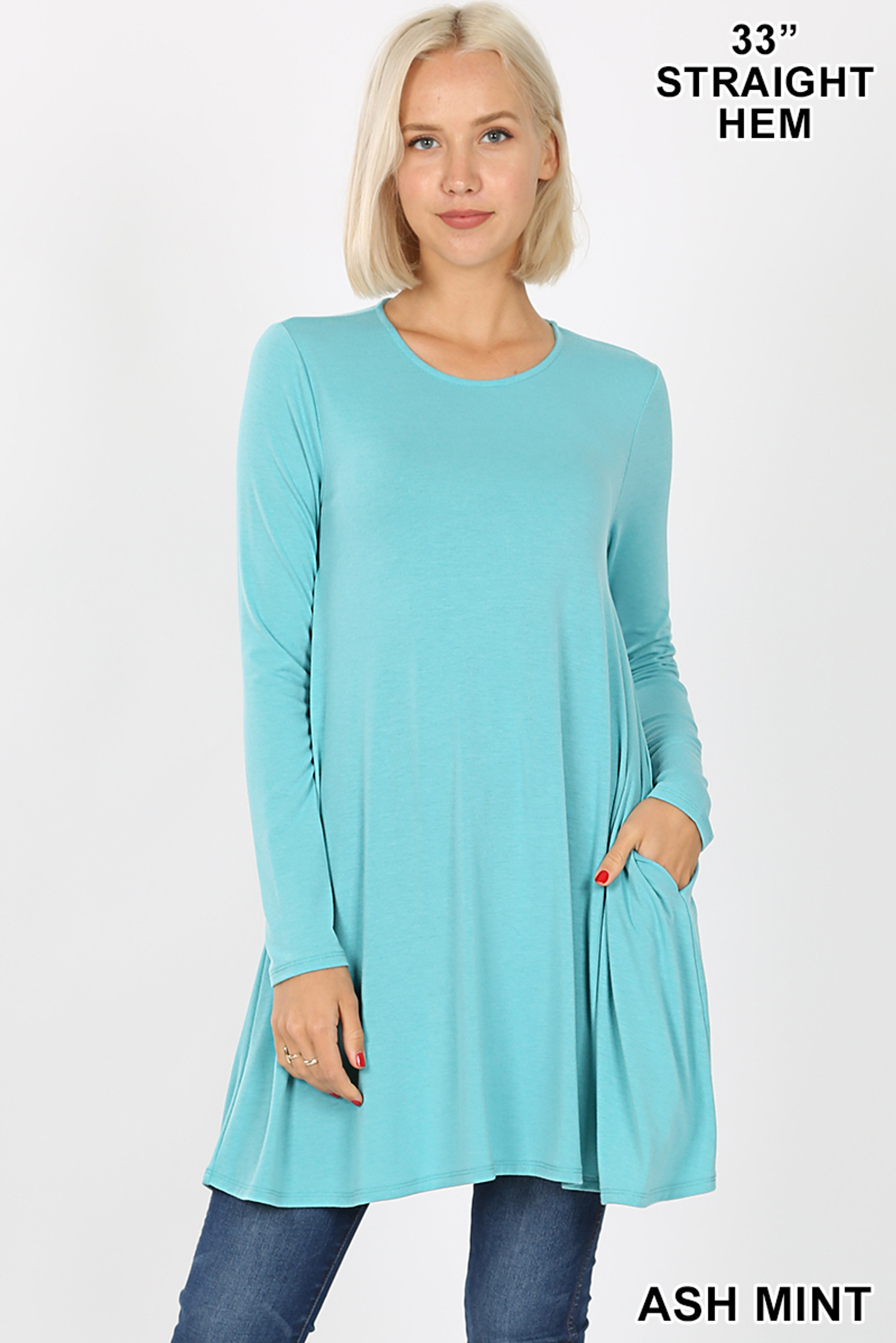 Front of Ash Mint Long Sleeve Swing Tunic with Pockets