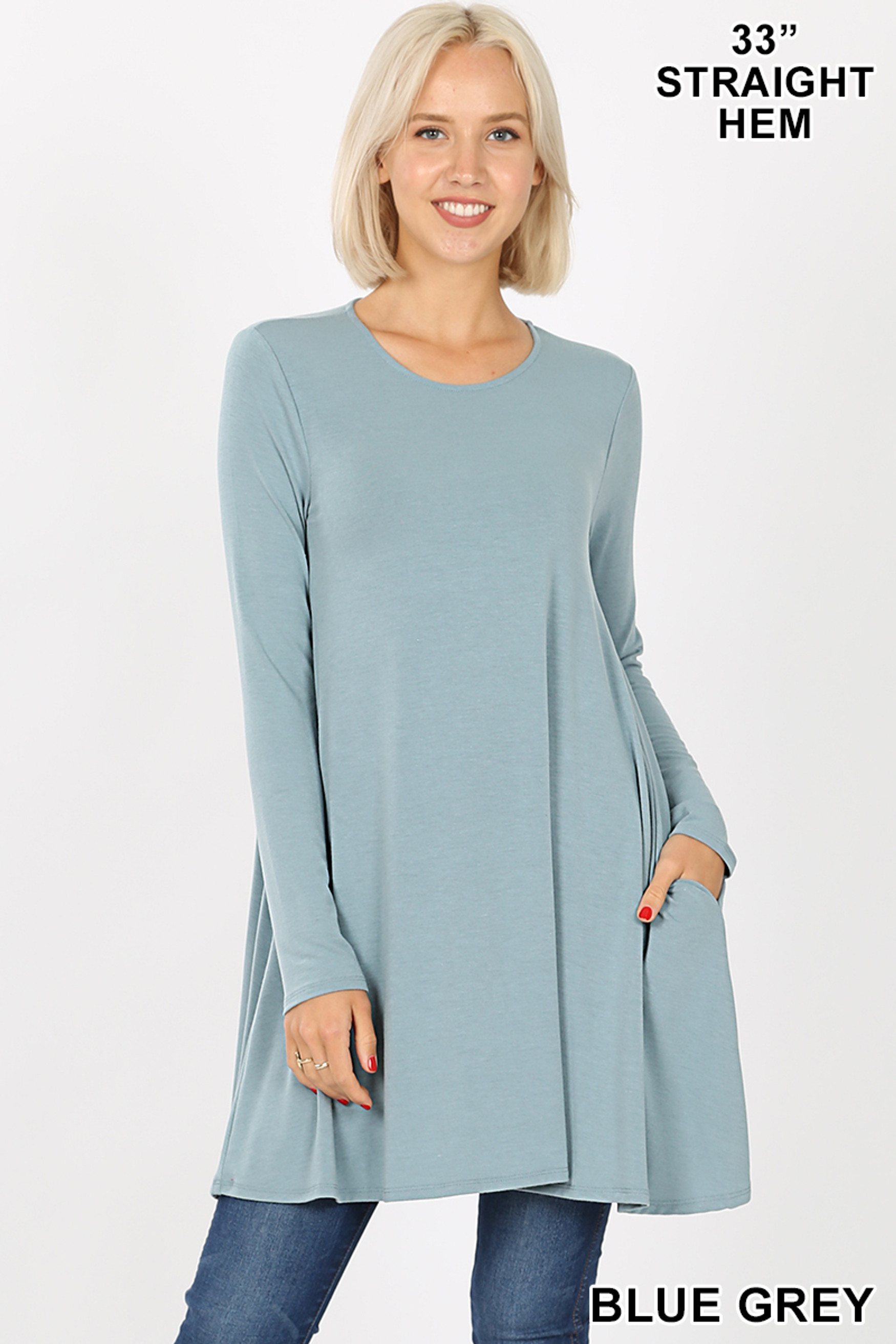 Front of Blue Grey Long Sleeve Swing Tunic with Pockets