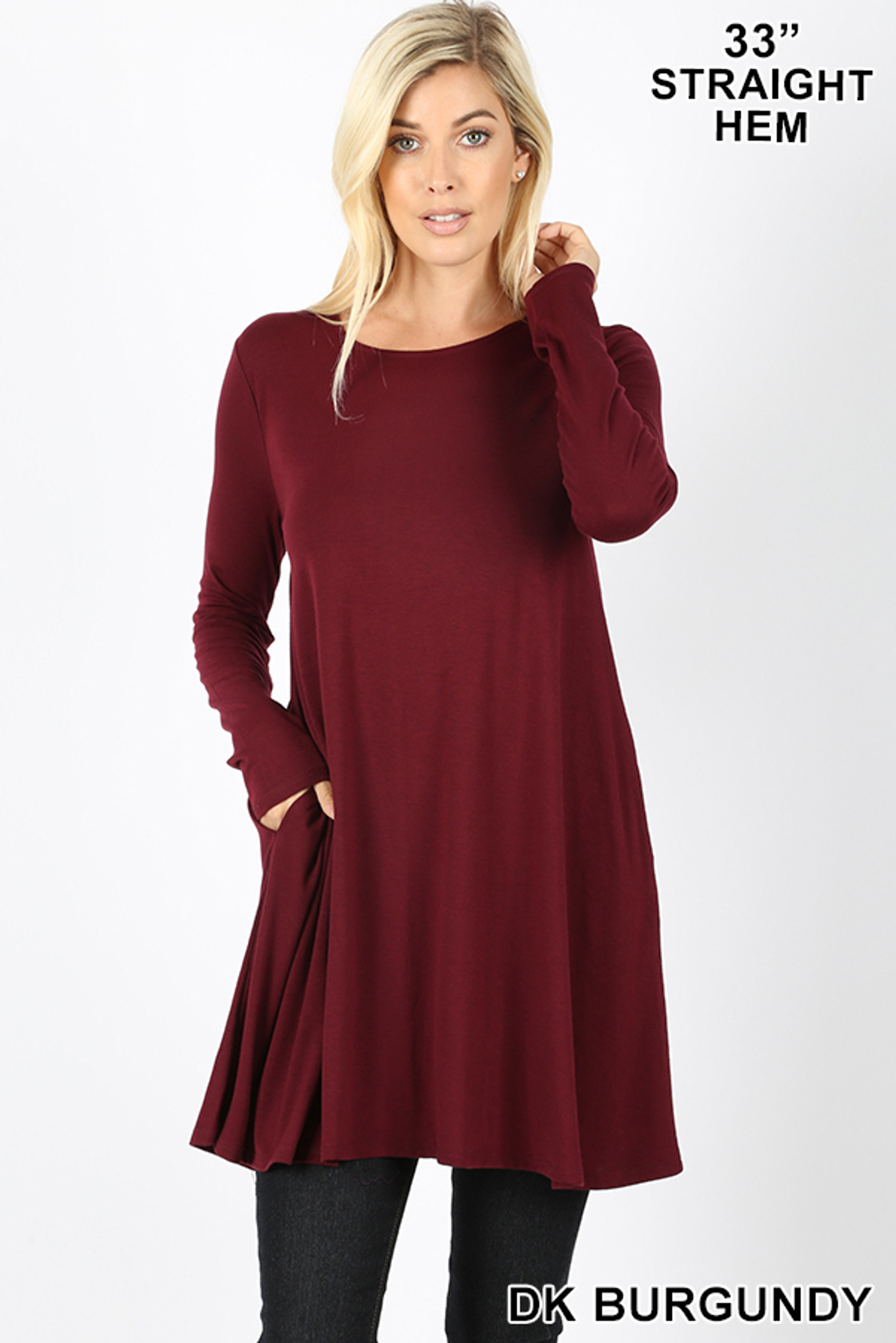 Front of Dk Burgundy Long Sleeve Swing Tunic with Pockets