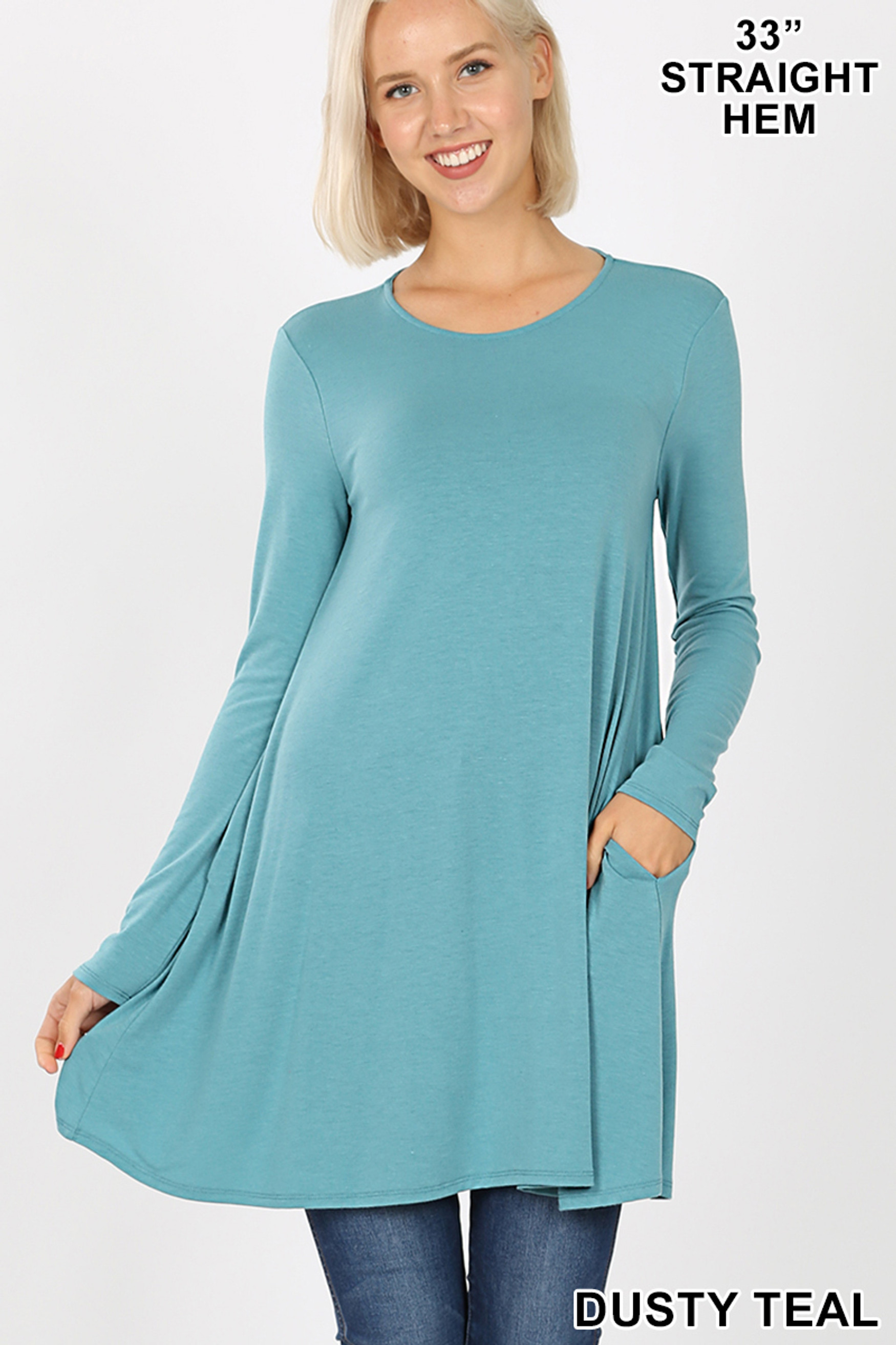 Front of Dusty Teal Long Sleeve Swing Tunic with Pockets