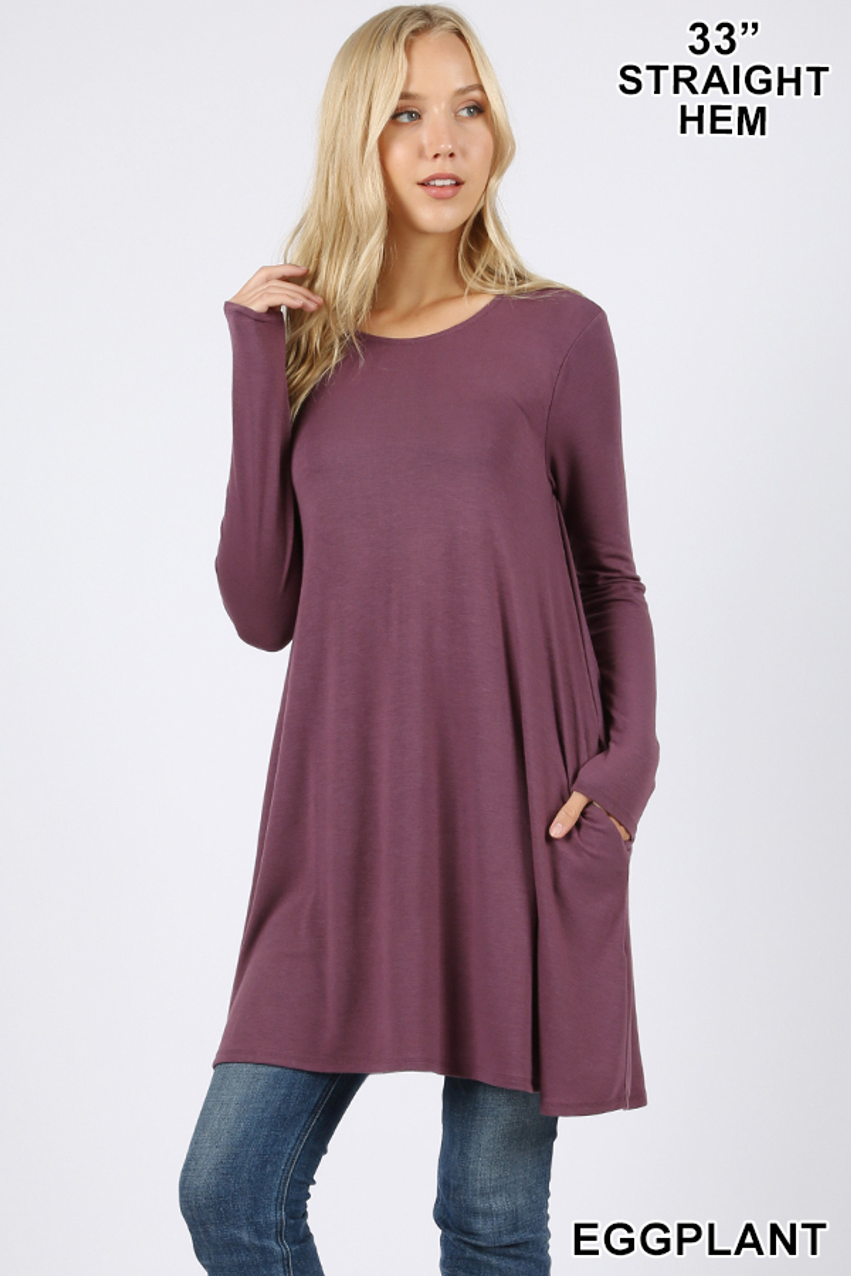 Front of Eggplant Long Sleeve Swing Tunic with Pockets