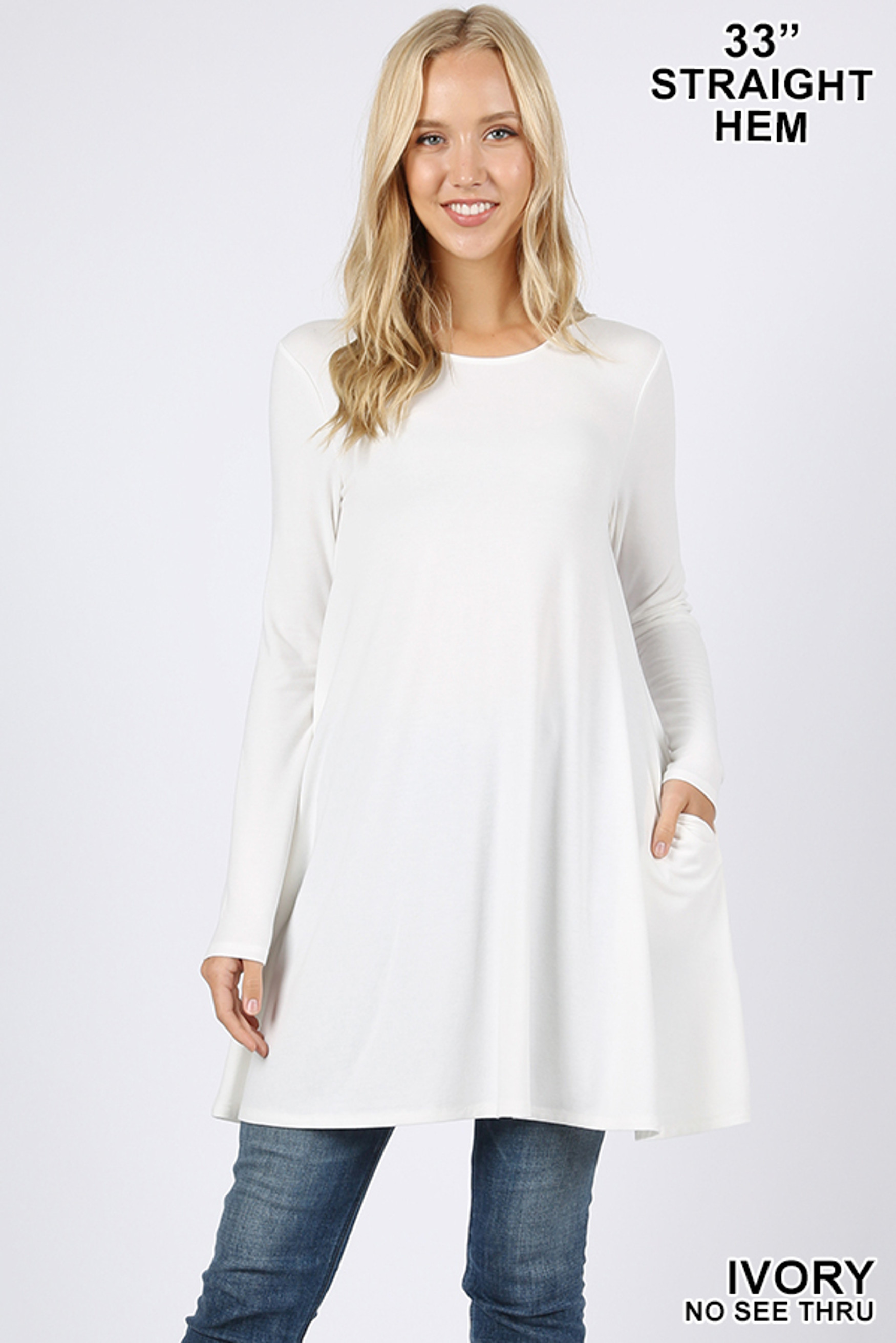 Front of Ivory Long Sleeve Swing Tunic with Pockets