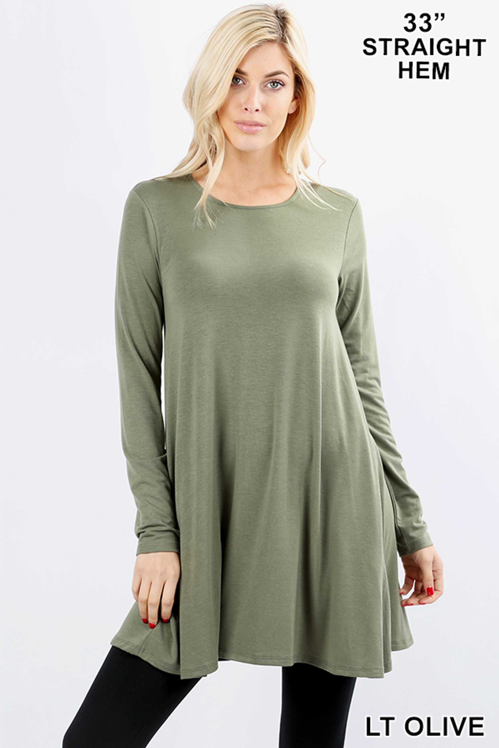 Front of Lt Olive Long Sleeve Swing Tunic with Pockets