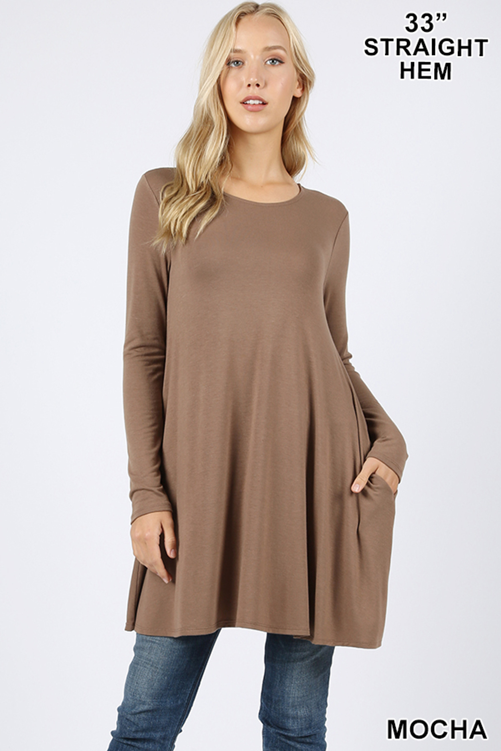 Front of Mocha Long Sleeve Swing Tunic with Pockets