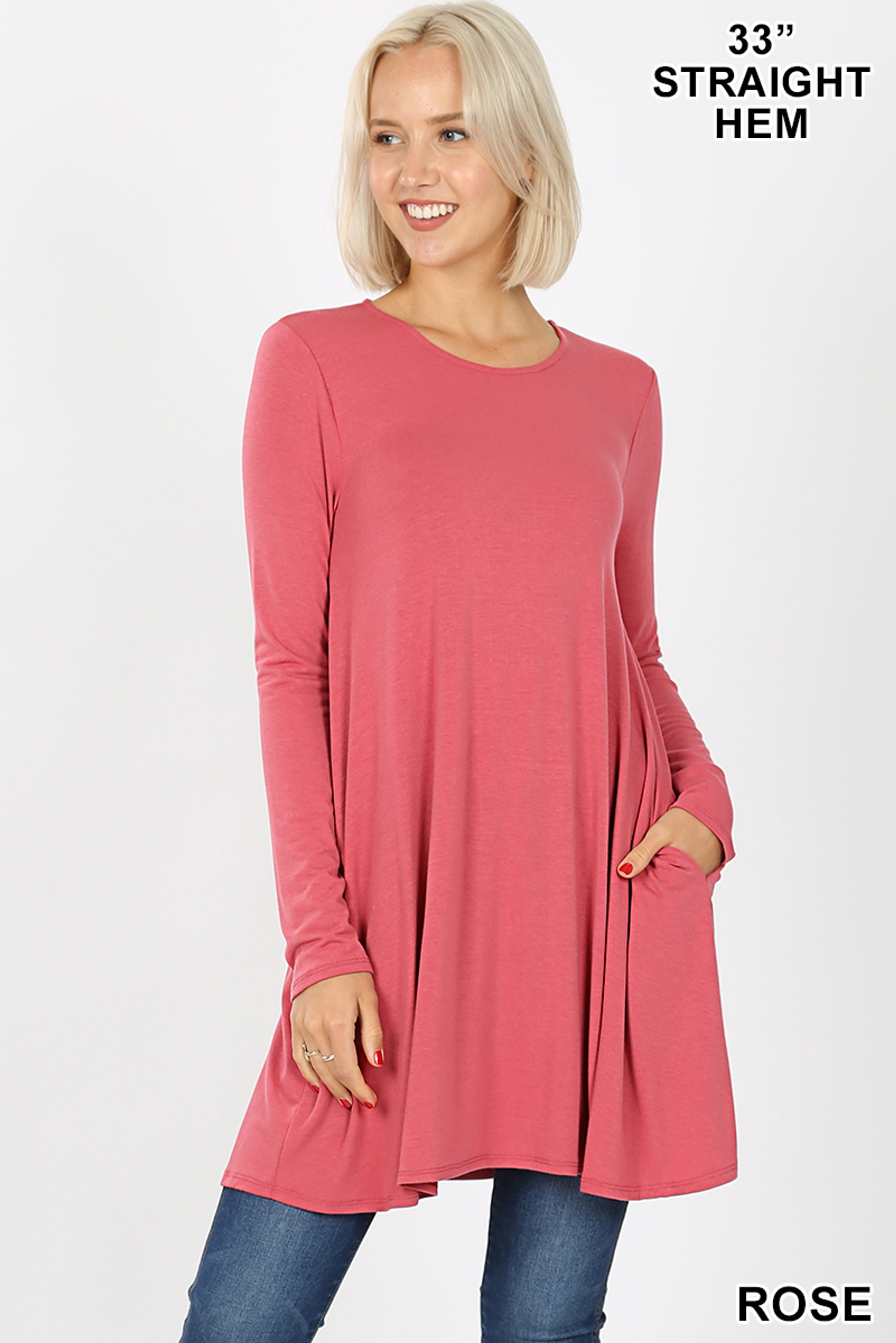 Front of Rose Long Sleeve Swing Tunic with Pockets