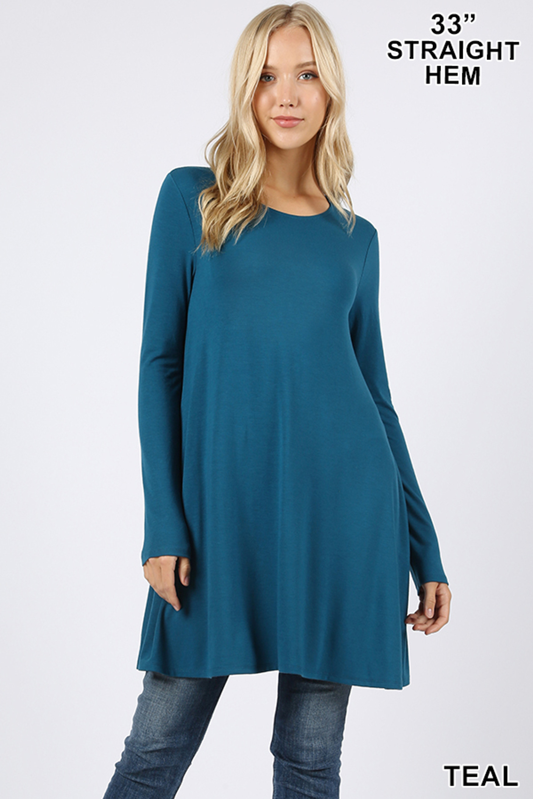 Front of Teal Long Sleeve Swing Tunic with Pockets
