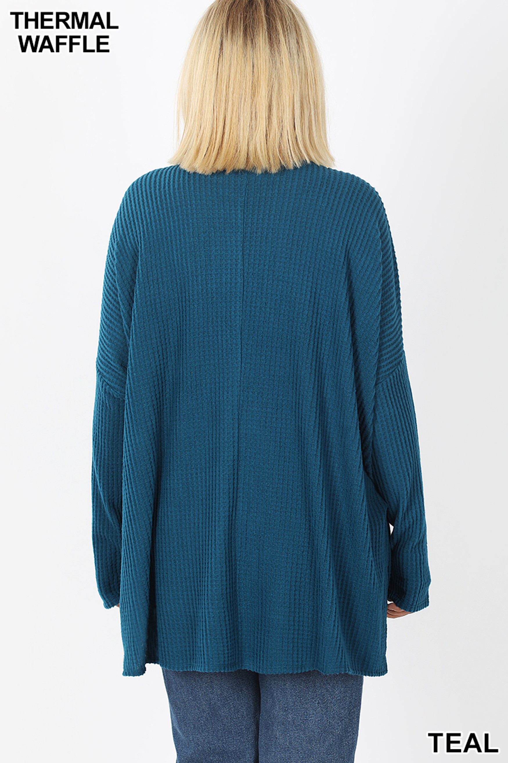 Back view of Teal Brushed Thermal Waffle Knit Round Neck Hi-Low Sweater