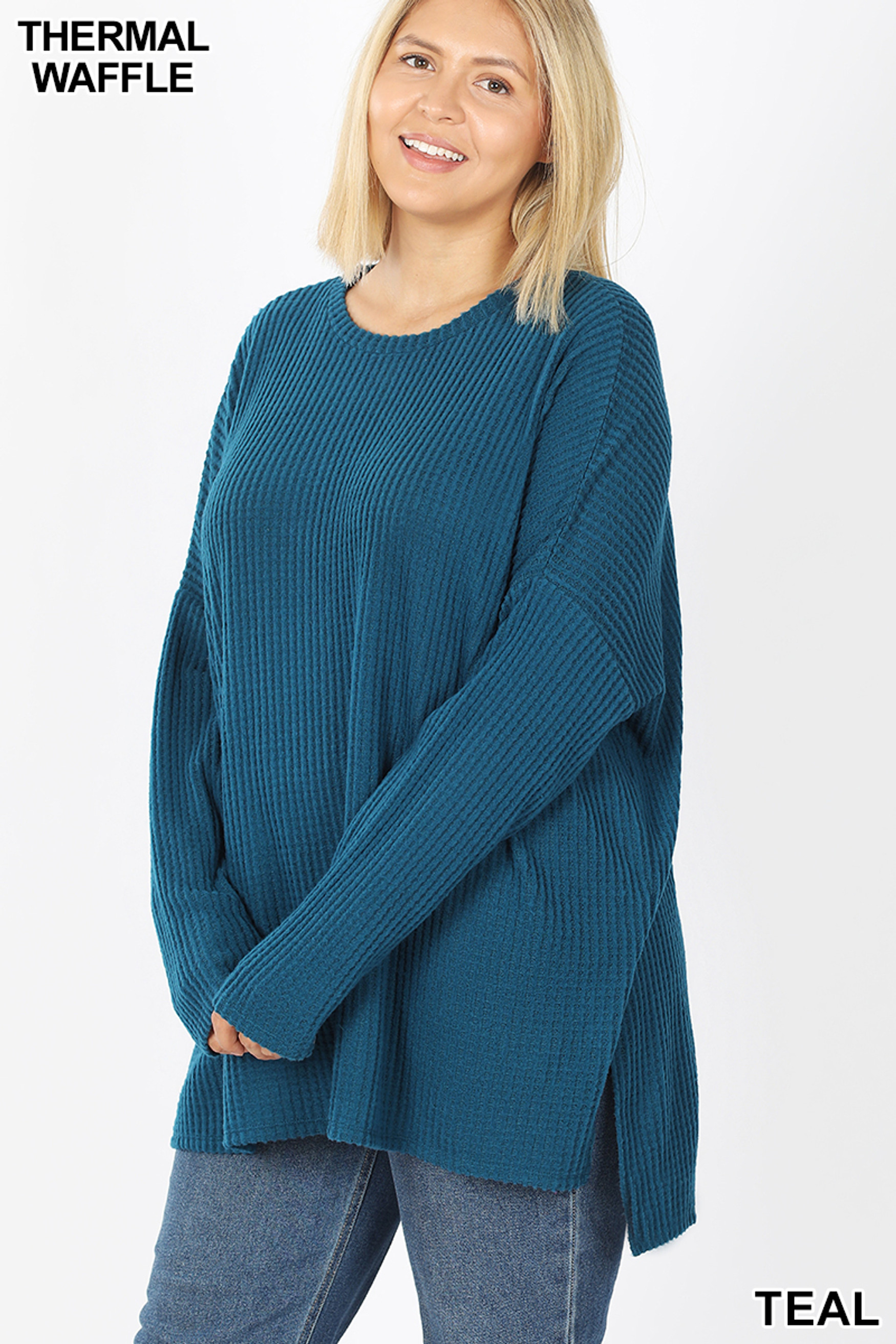 45 degree View of Teal Brushed Thermal Waffle Knit Round Neck Hi-Low Sweater