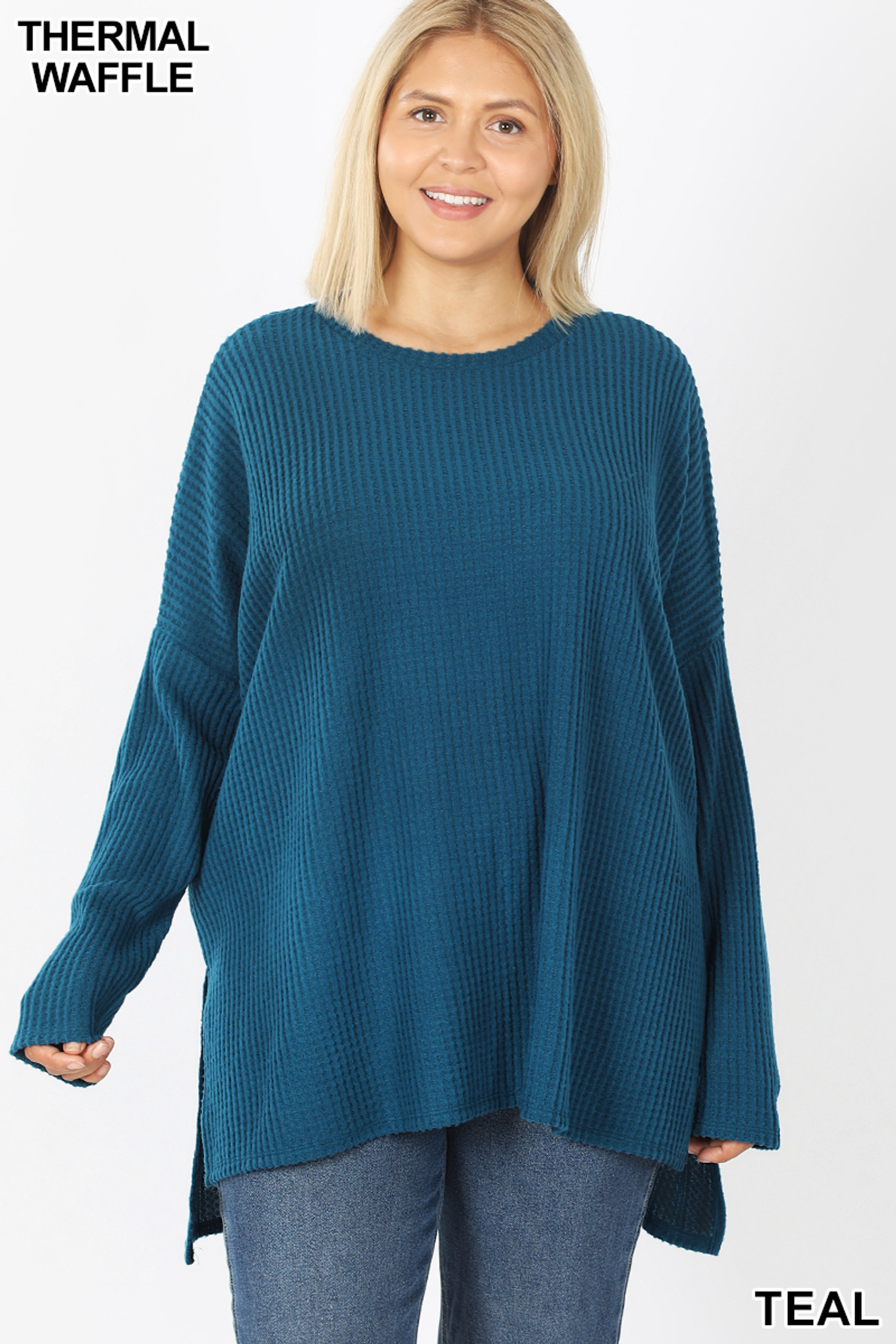 Front image of Teal Brushed Thermal Waffle Knit Round Neck Hi-Low Sweater