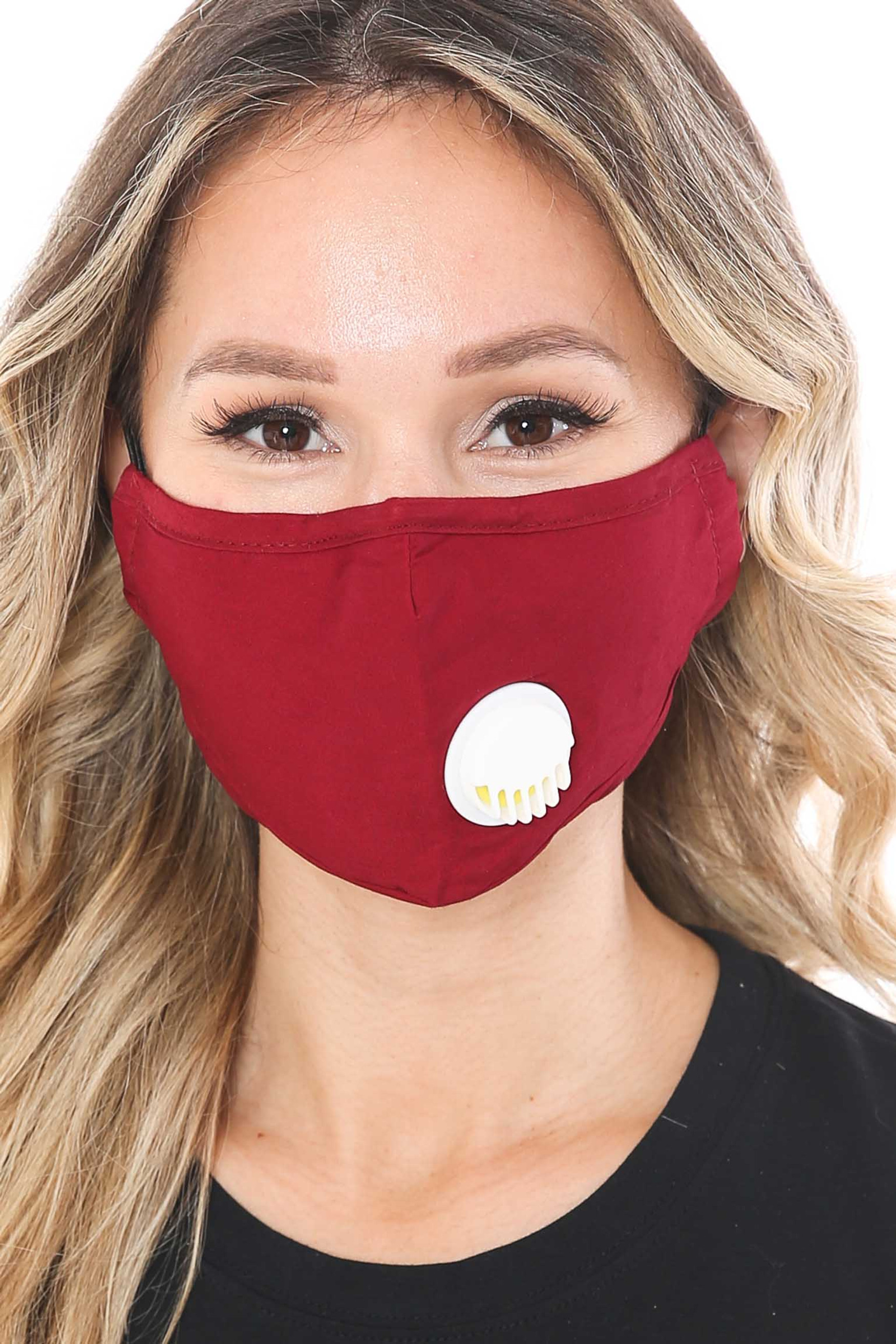 Solid Face Mask with Nose Bar - Air Valve - PM2.5 Filter
