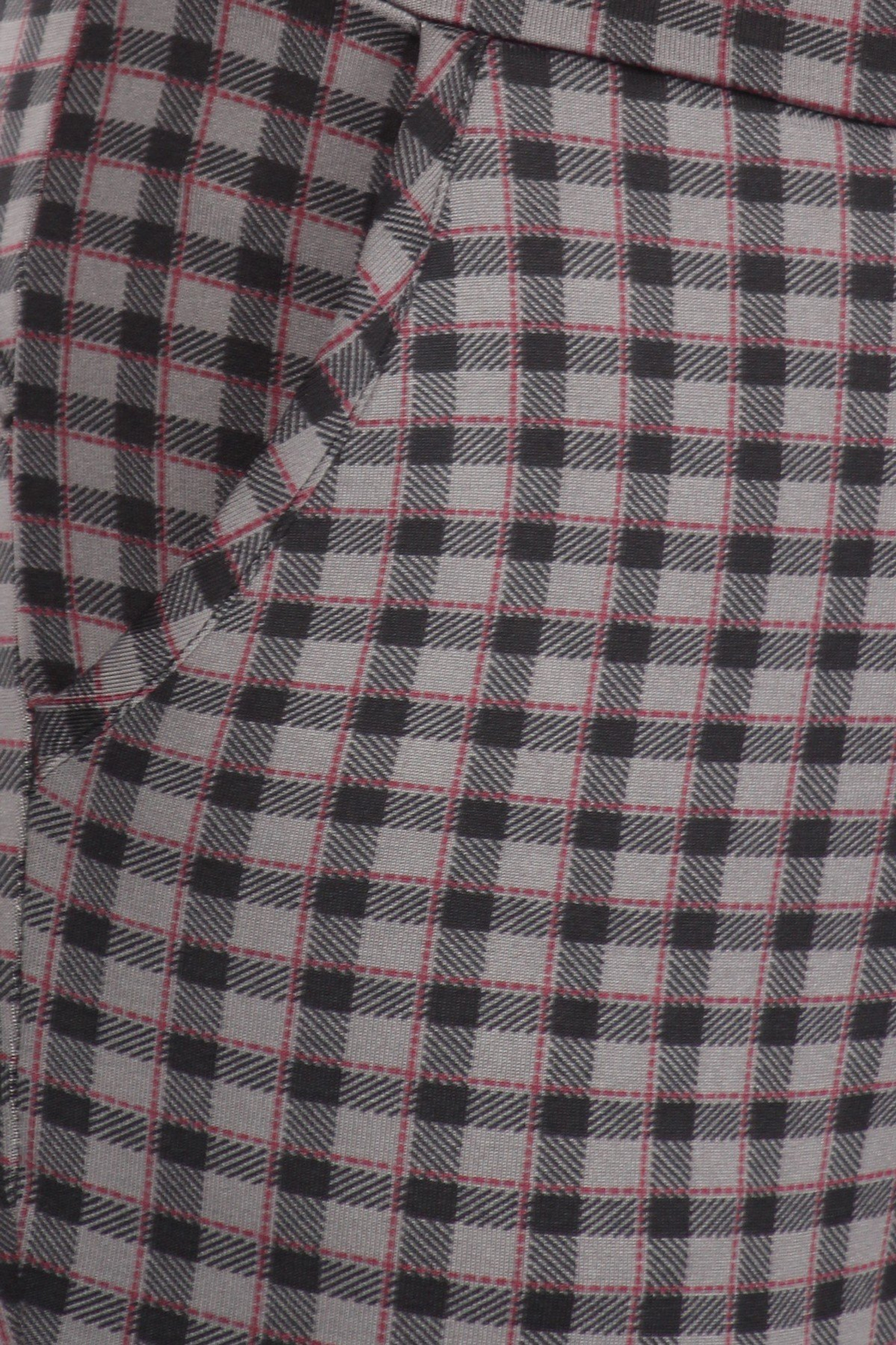 Burgundy Accent Gingham Plaid High Waist Body Sculpting Treggings with Pockets