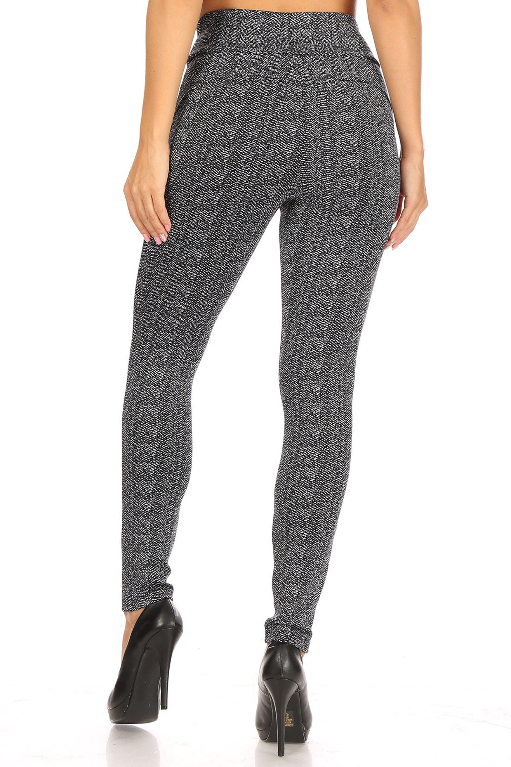 Crackled Zigzag High Waisted Body Sculpting Treggings with Pockets