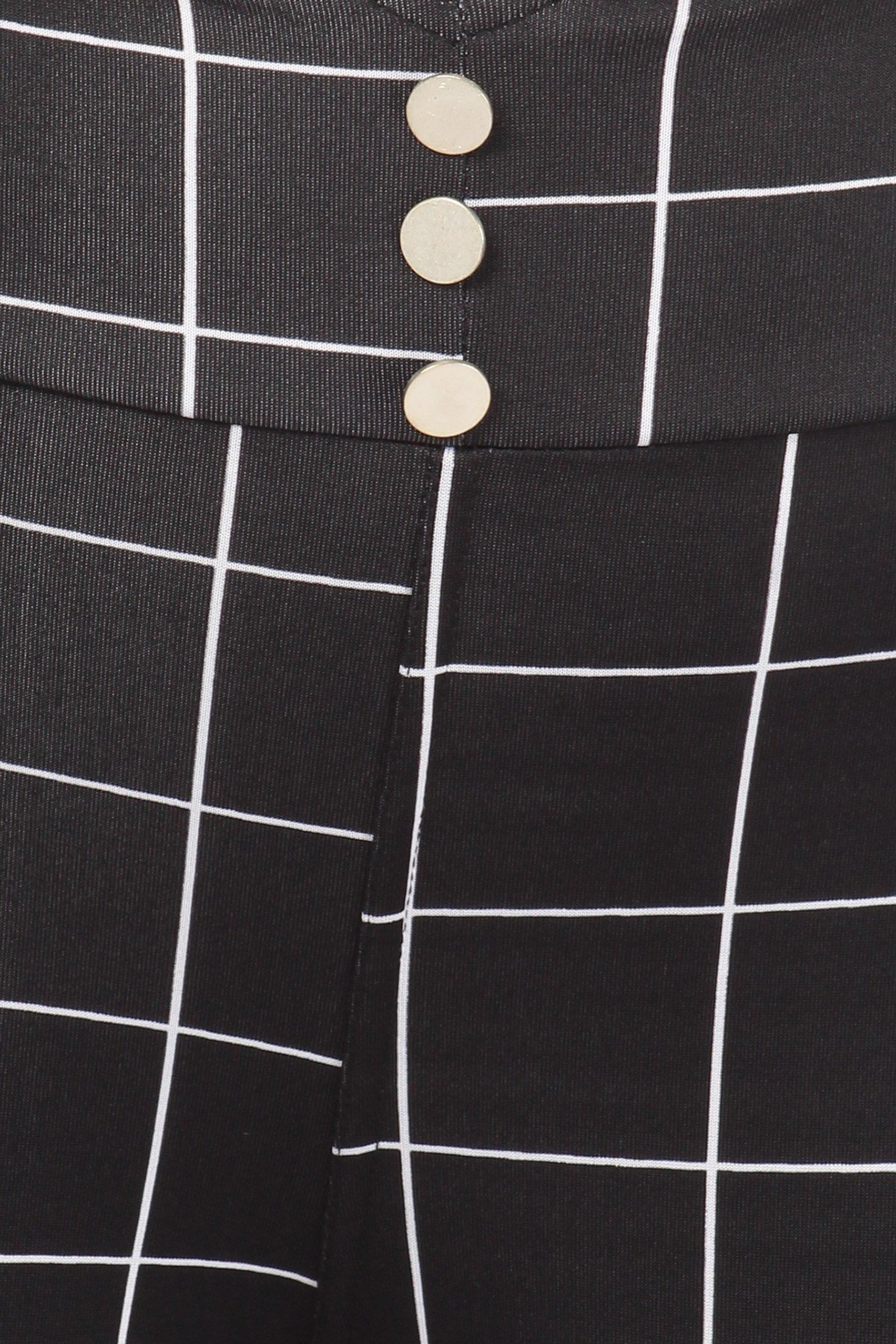 High Waisted Grid Print Button Detail Plus Size Treggings with Pockets