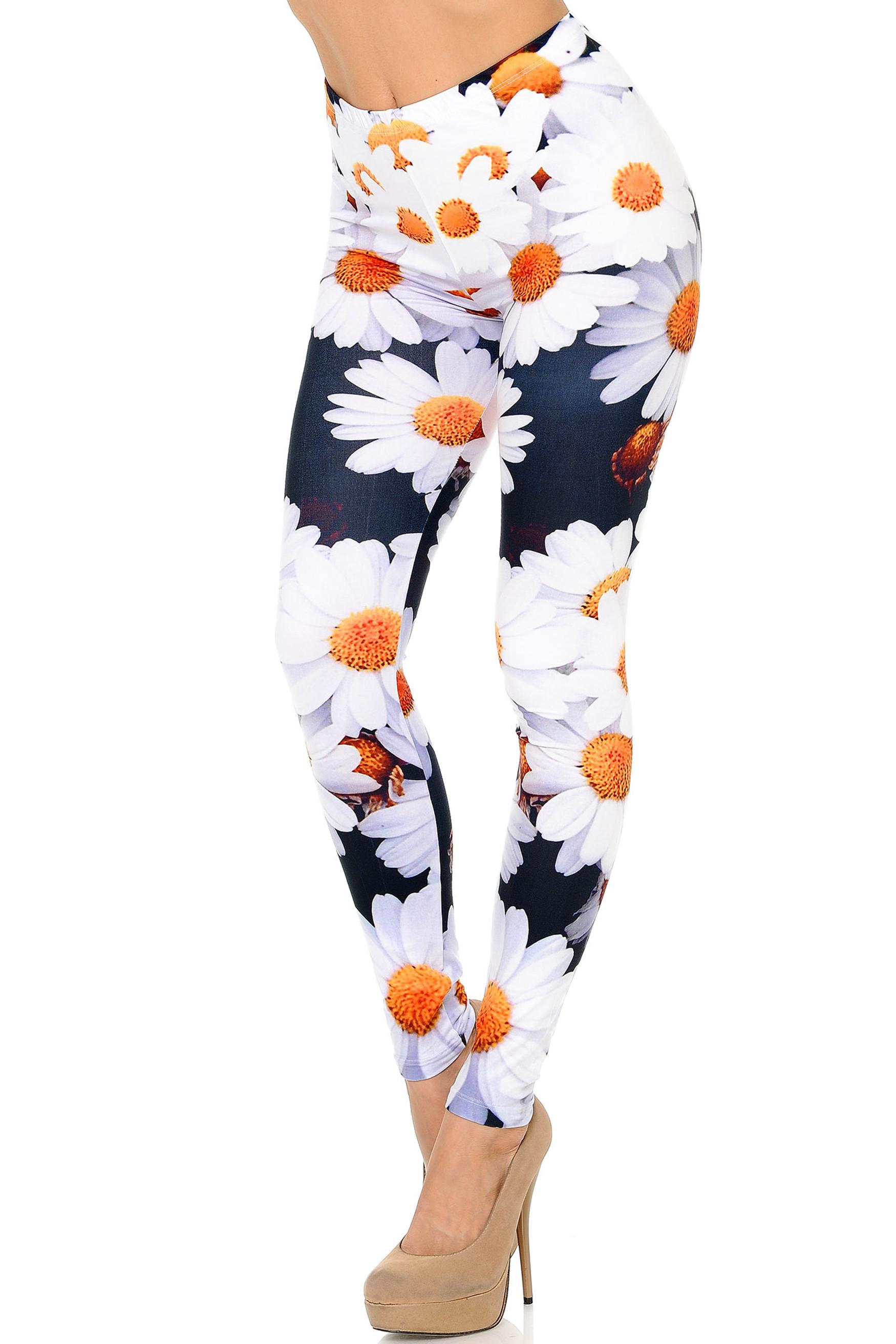 Left Side Image of Creamy Soft Daisy Plus Size Leggings - USA Fashion™