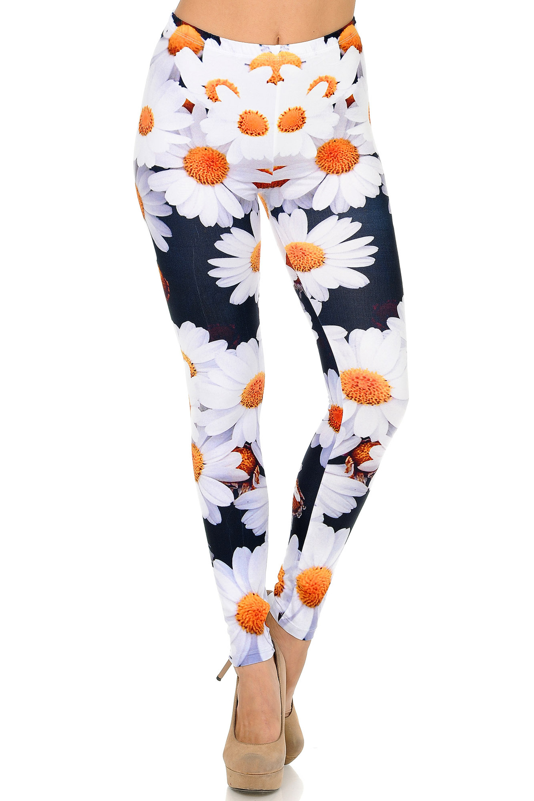 Front side image of Creamy Soft Daisy Plus Size Leggings - USA Fashion™