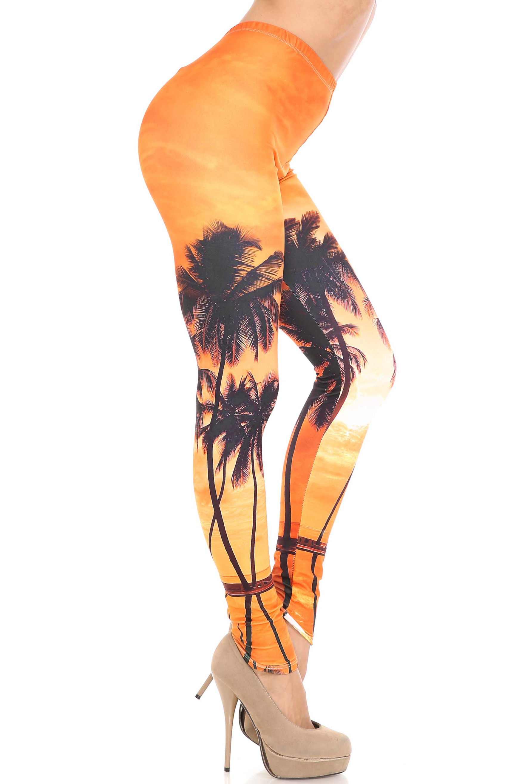 Creamy Soft Sunset Palm Leggings - USA Fashion™