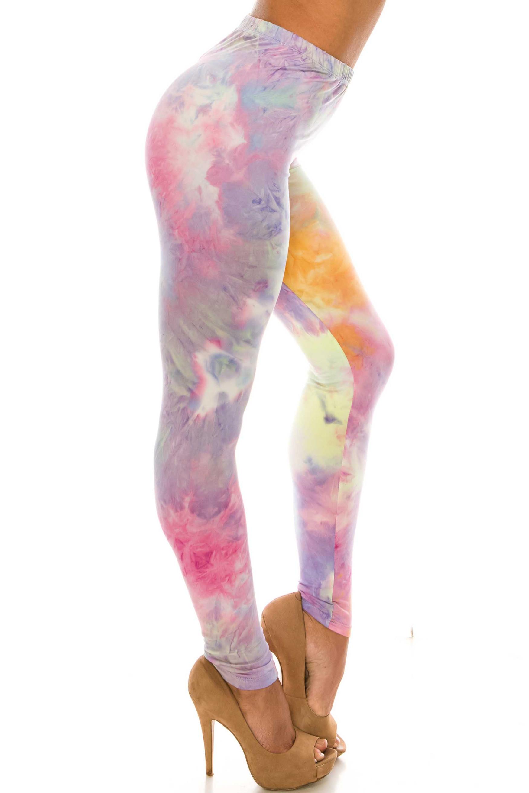 Buttery Soft Multi-Color Pastel Tie Dye Leggings