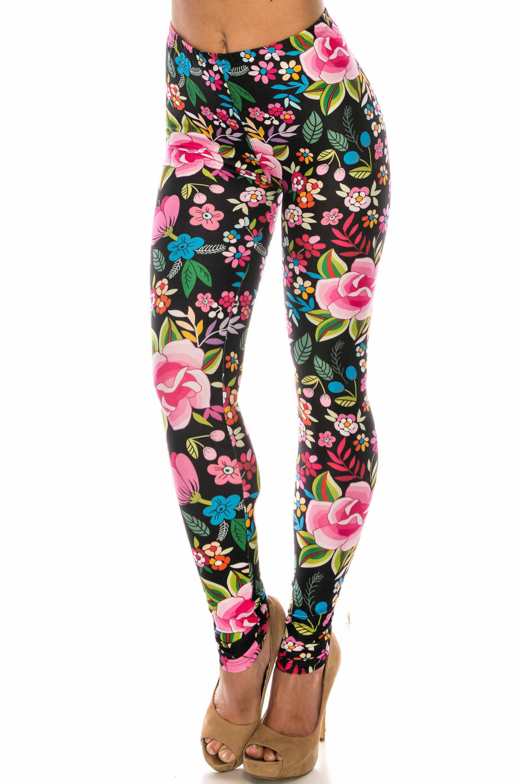 Creamy Soft Floral Oasis Extra Plus Size Leggings - 3X-5X - USA Fashion™