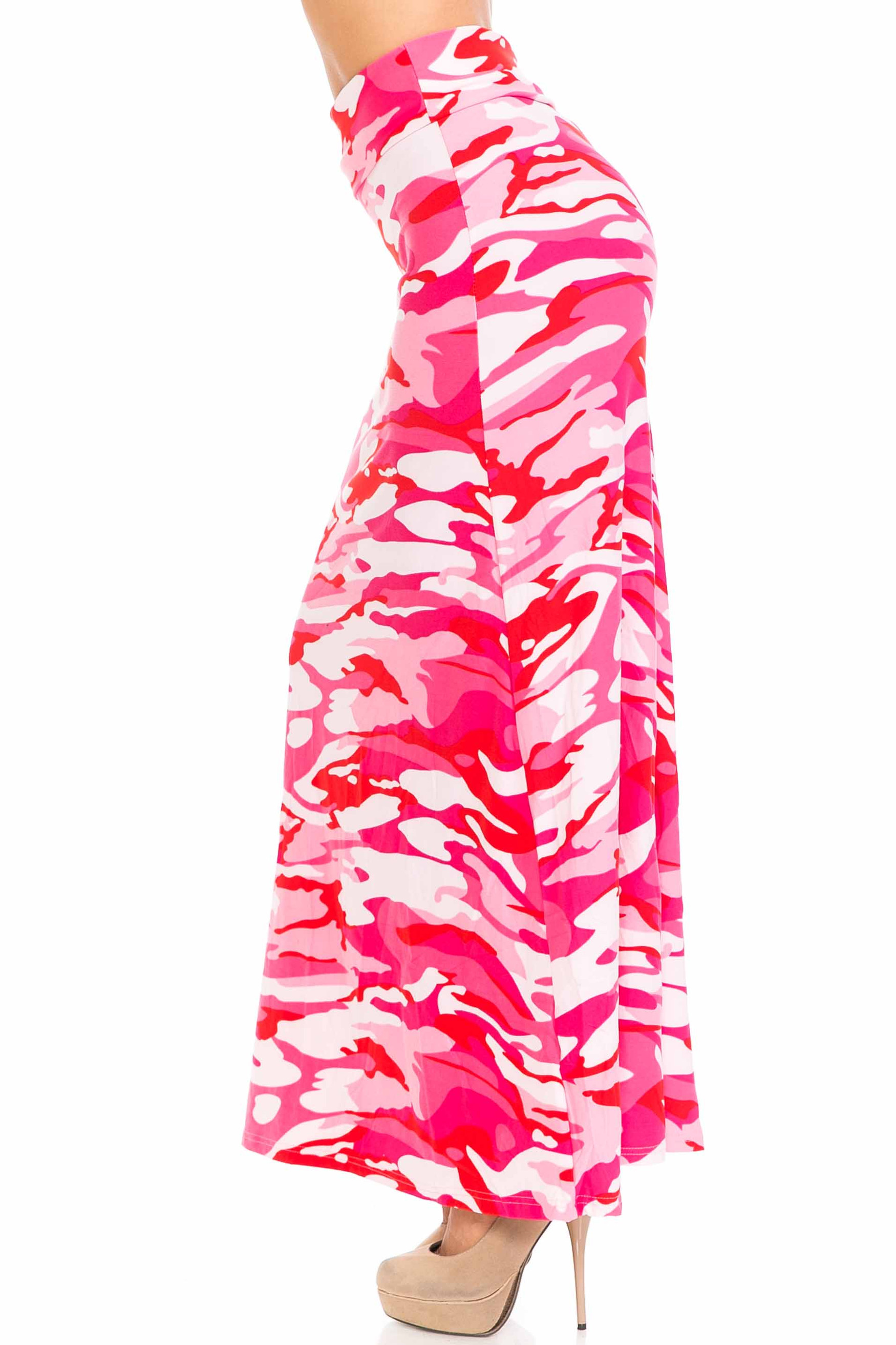 Buttery Soft Pink Camouflage Maxi Skirt