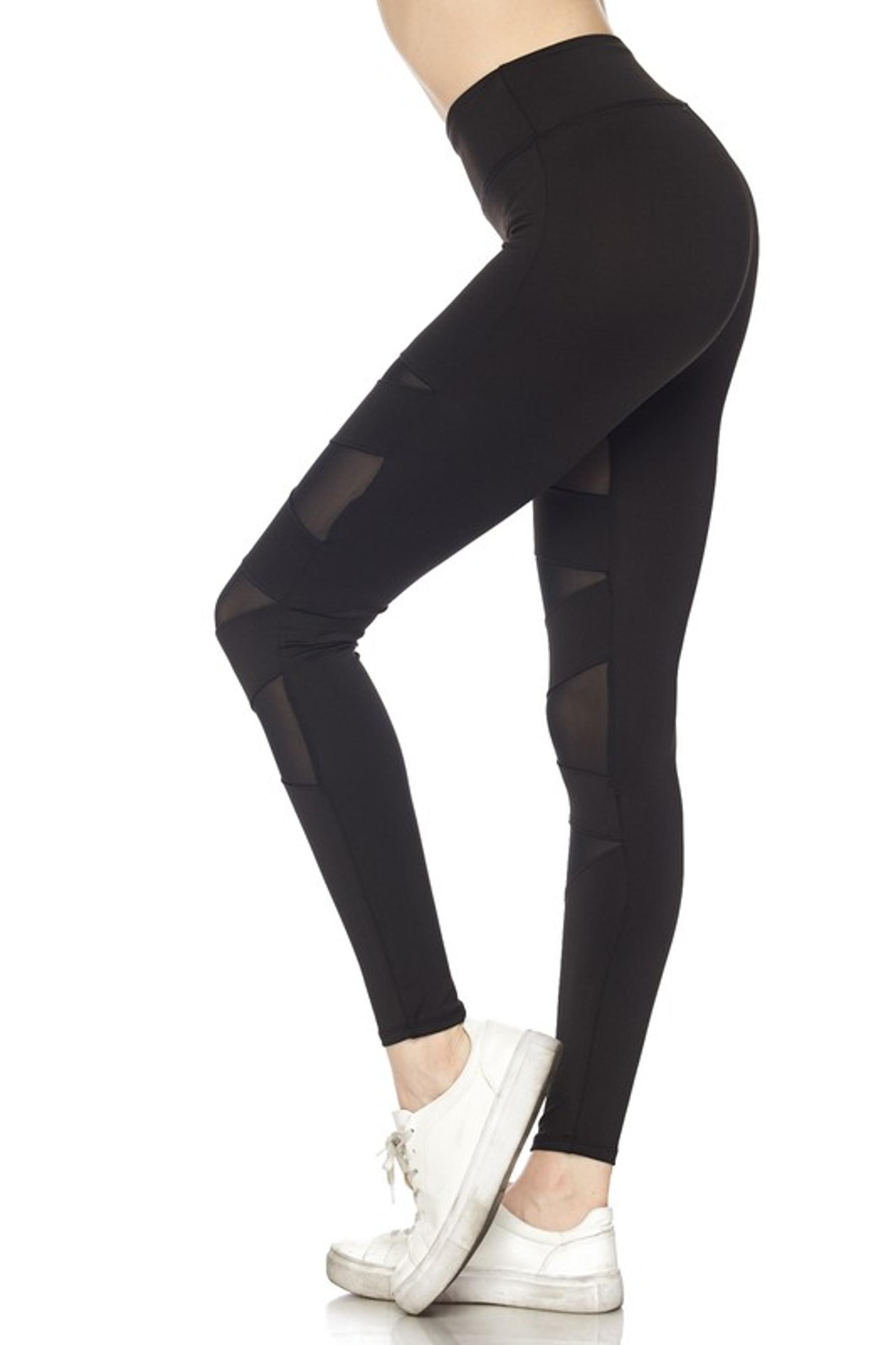 Left side of Black Cruiser CrissCross Plus Size Sport Leggings