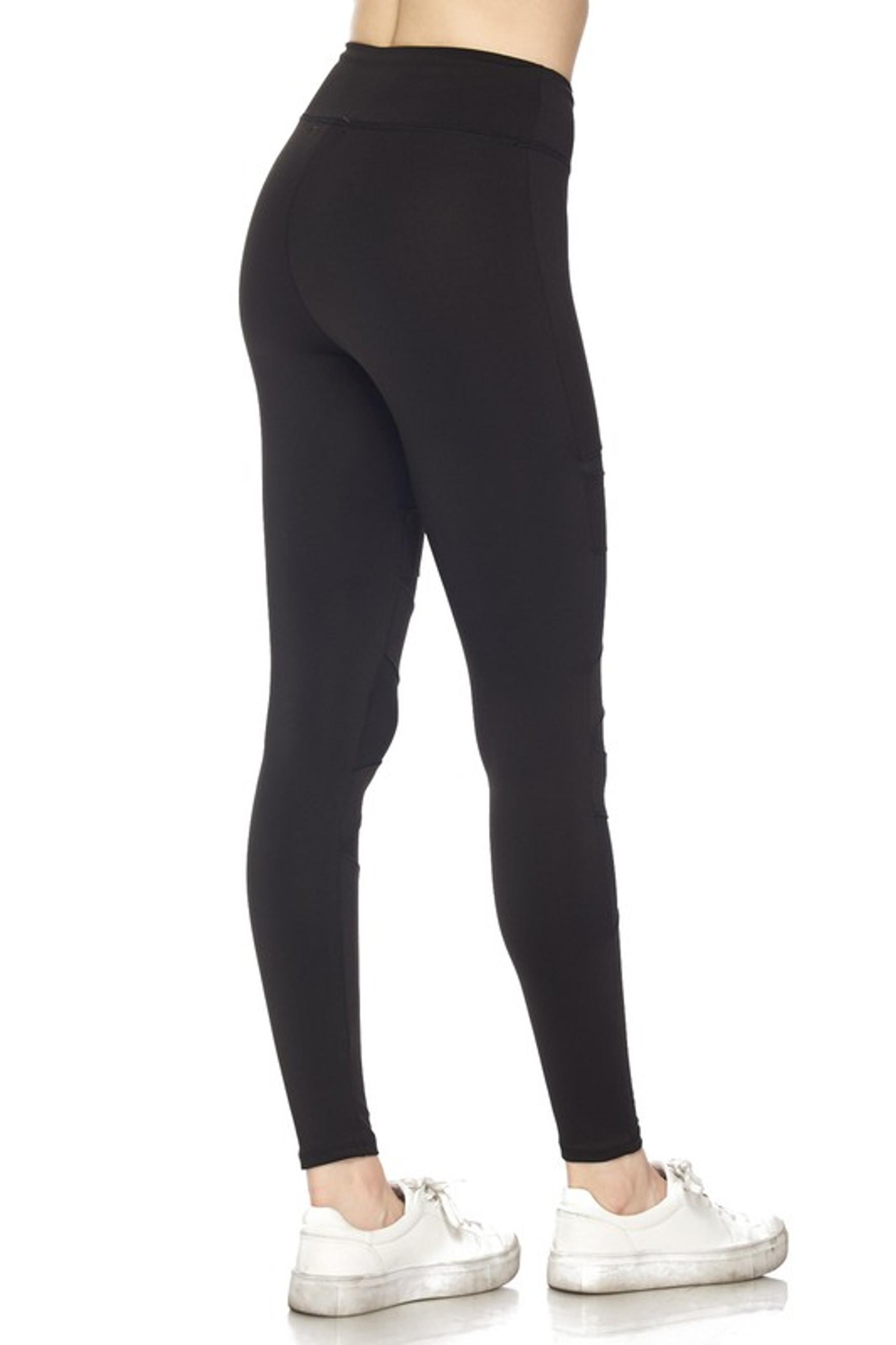 45 degree back right side of  Black Triangular Mesh Plus Size Sport Leggings
