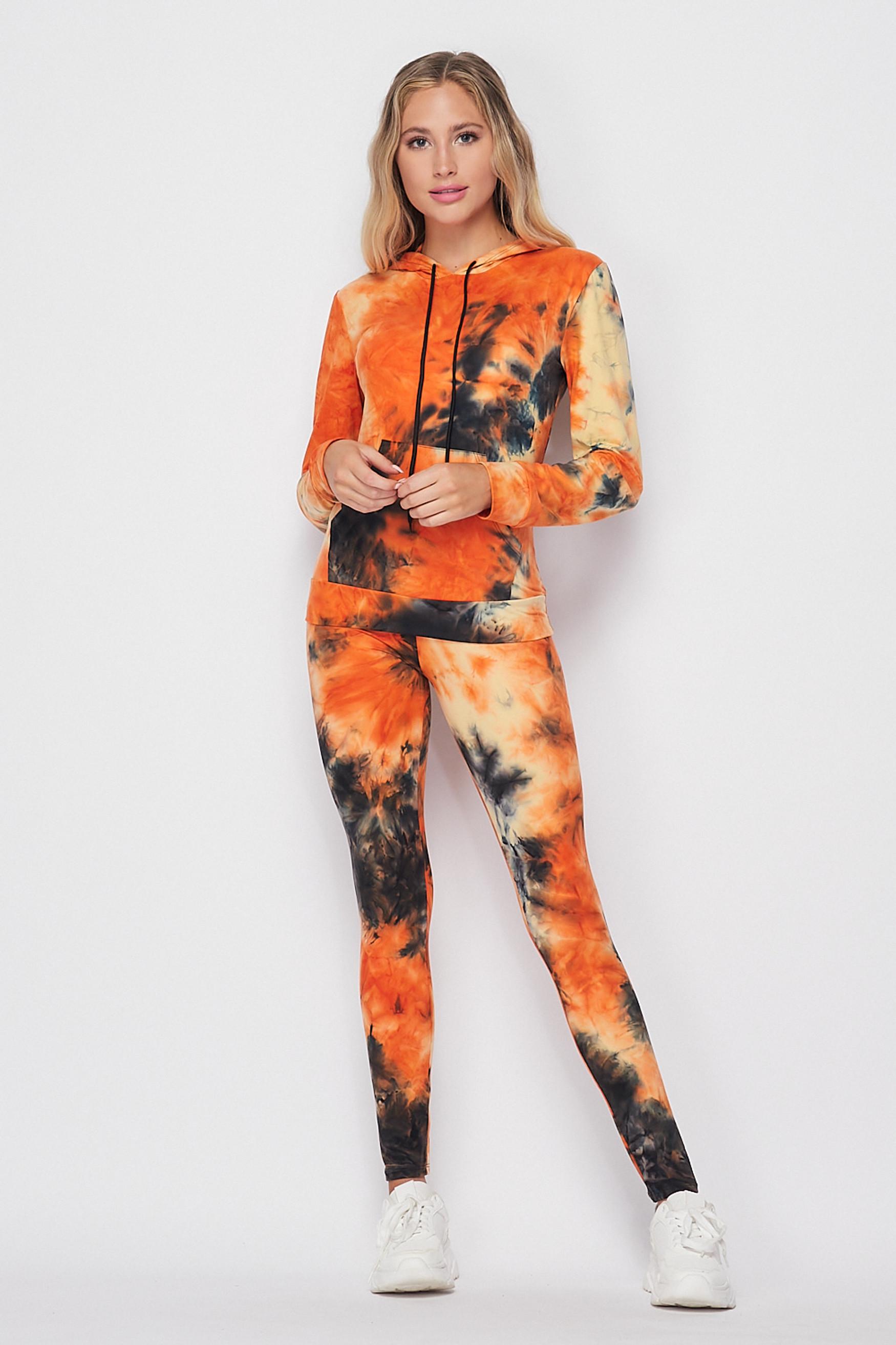 Front side image of Orange Tie Dye 2 Piece Leggings and Hooded Jacket Set
