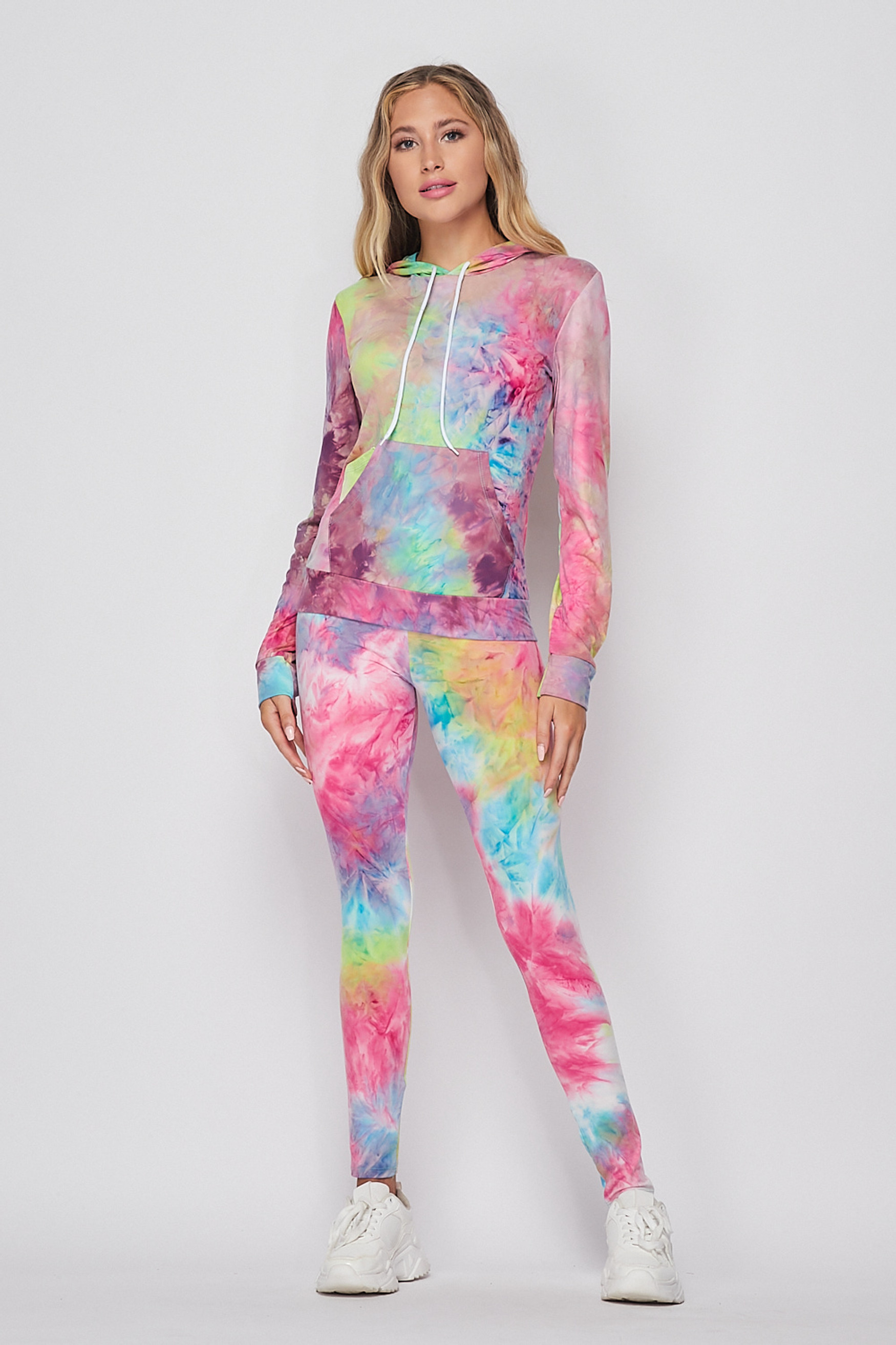 Front side image of Blue/Pink Tie Dye 2 Piece Leggings and Hooded Jacket Set