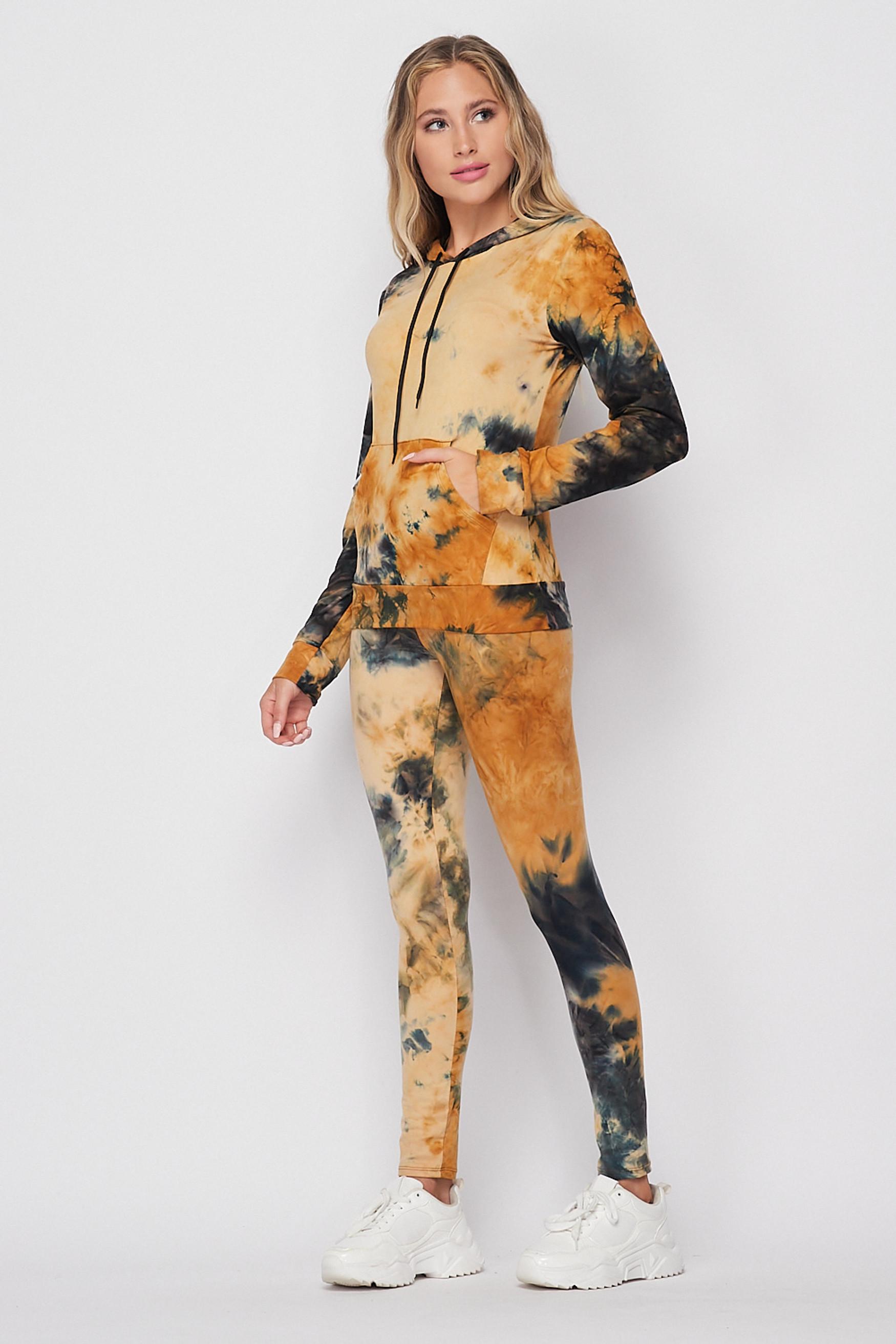 45 degree/left side of Camel Tie Dye 2 Piece Leggings and Hooded Jacket Set
