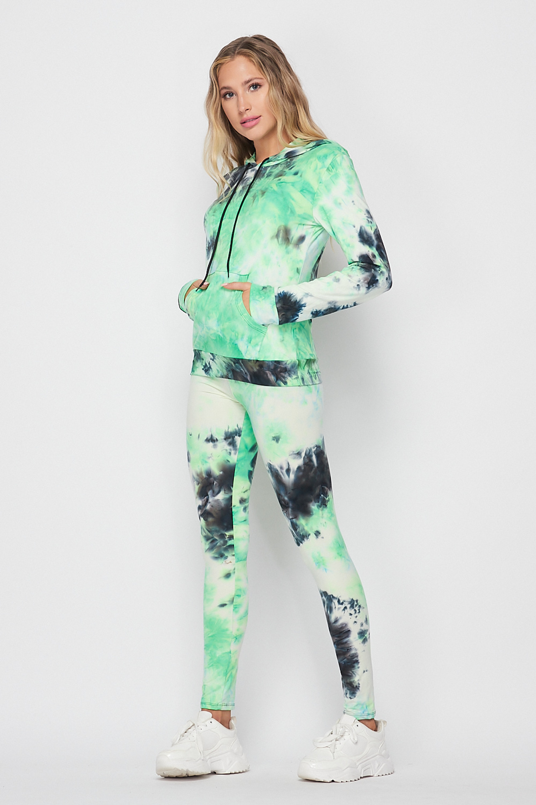 Left side image of Green Tie Dye 2 Piece Leggings and Hooded Jacket Set