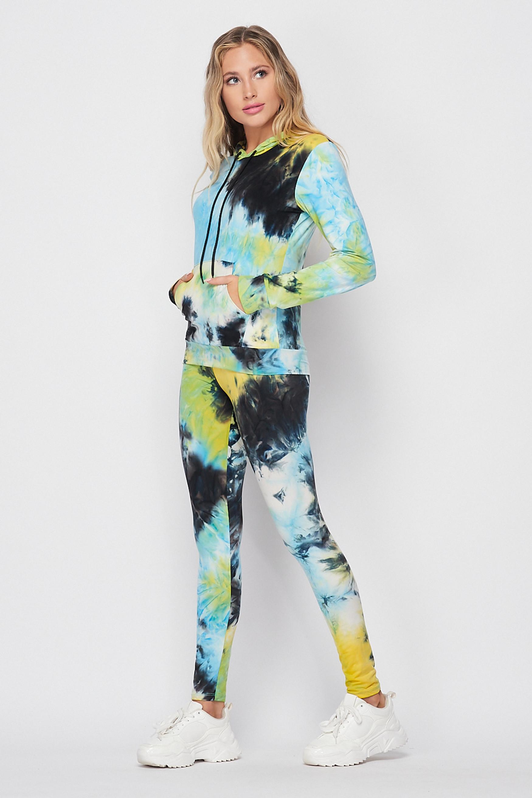 Blue Tie Dye 2 Piece Leggings and Hooded Jacket Set