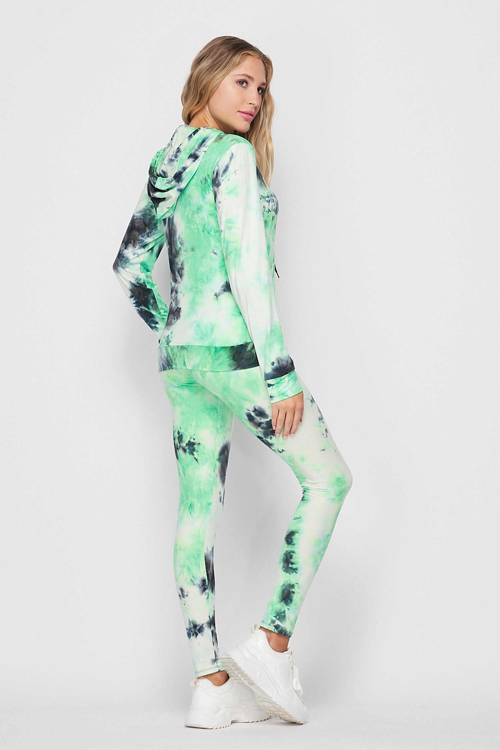 Green Tie Dye 2 Piece Leggings and Hooded Jacket Set