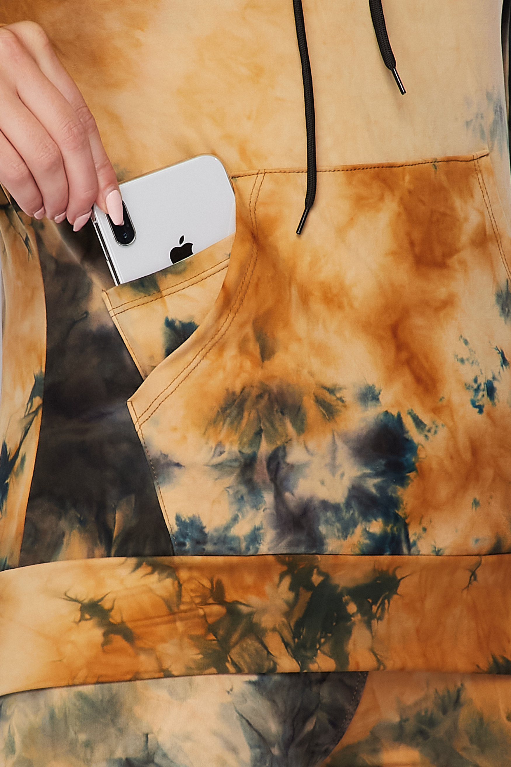Close-up fabric swatch of Camel Tie Dye 2 Piece Leggings and Hooded Jacket Set