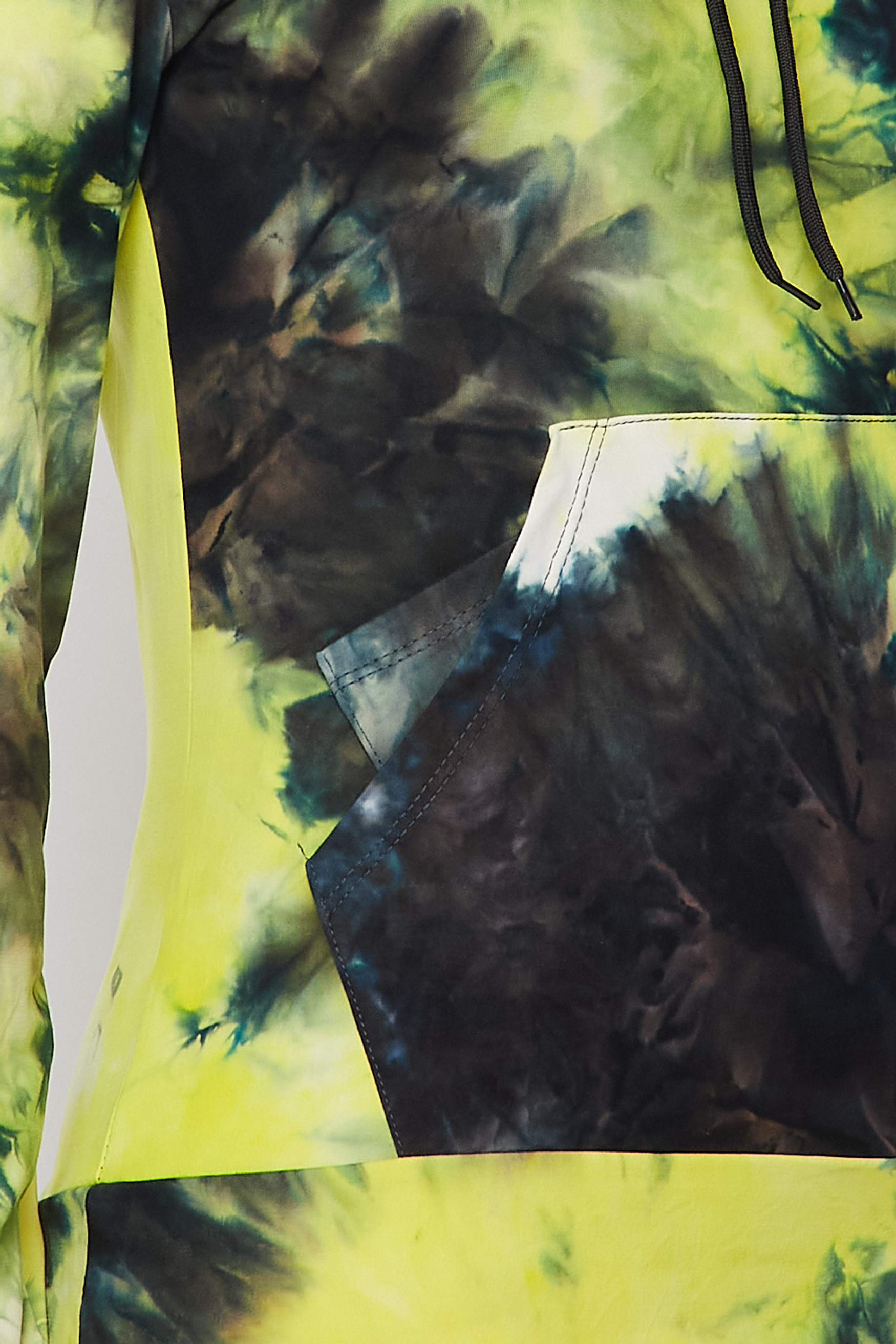 Close-up fabric swatch of Yellow Tie Dye 2 Piece Leggings and Hooded Jacket Set