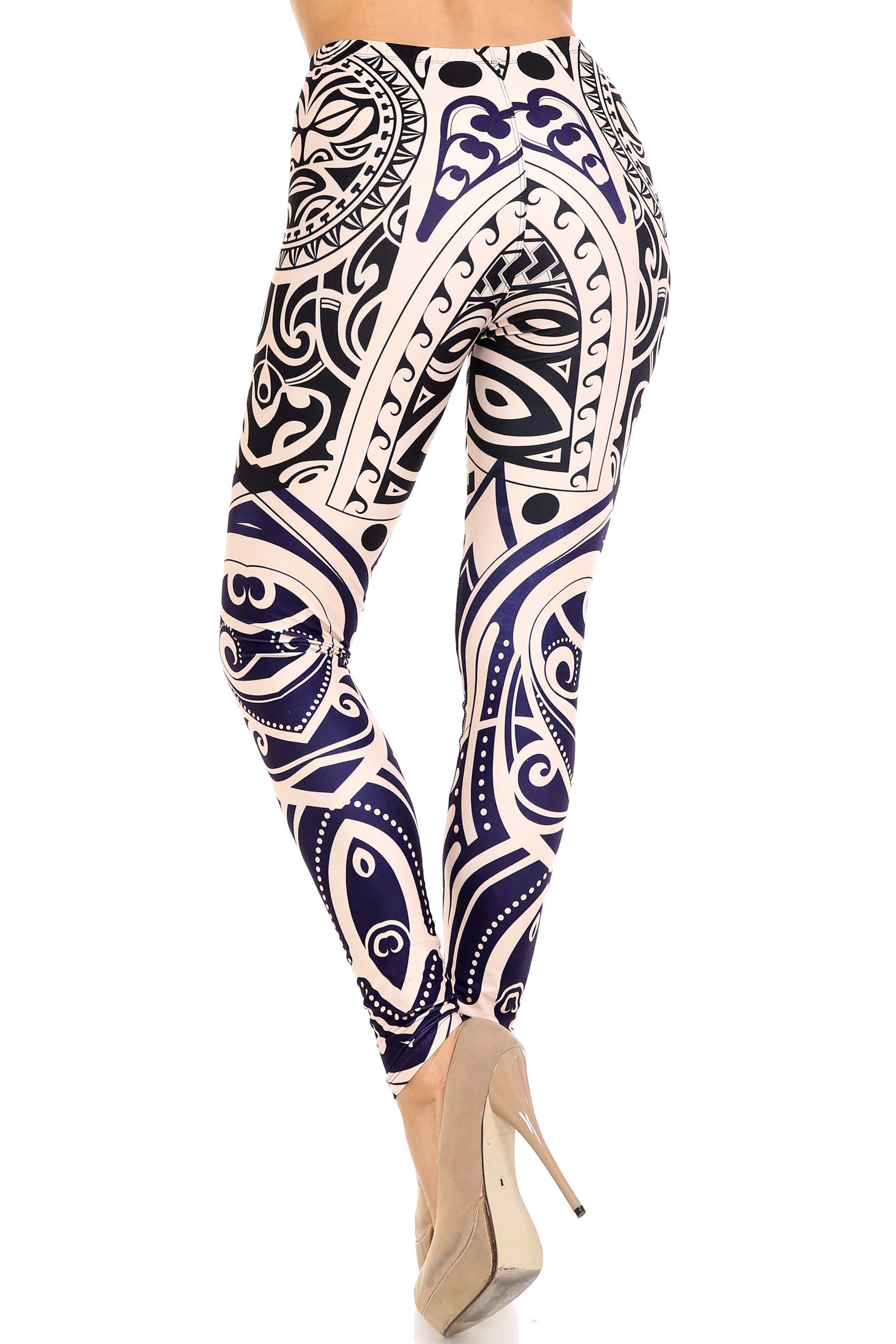 45 degree back view of Creamy Soft Valhalla Plus Size Leggings - USA Fashion™ with a body-fitted flattering look.