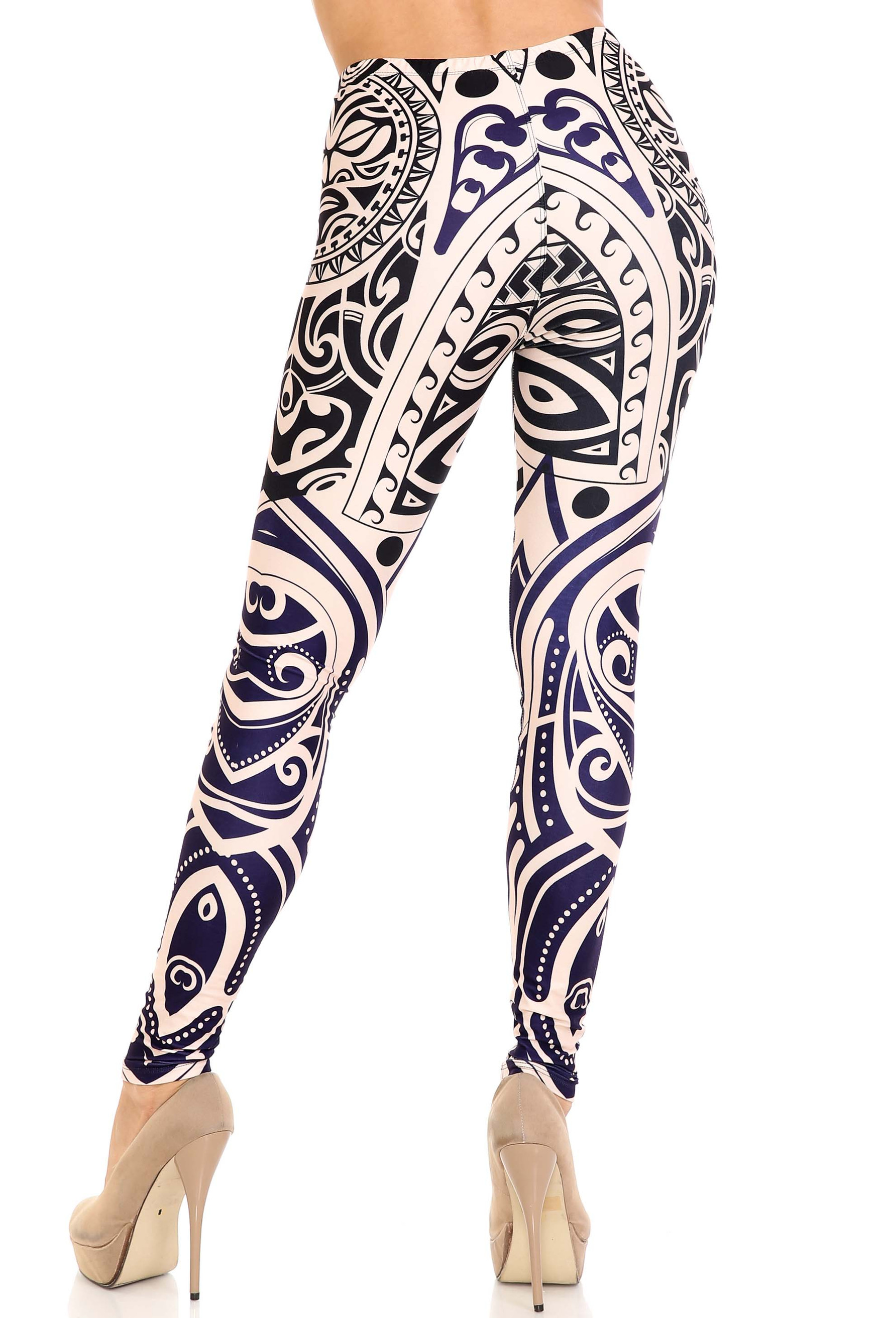 Rear view ofCreamy Soft Valhalla Extra Plus Size Leggings - 3X-5X - USA Fashion™ showing off the super flattering design oriented in an almost contouring way.