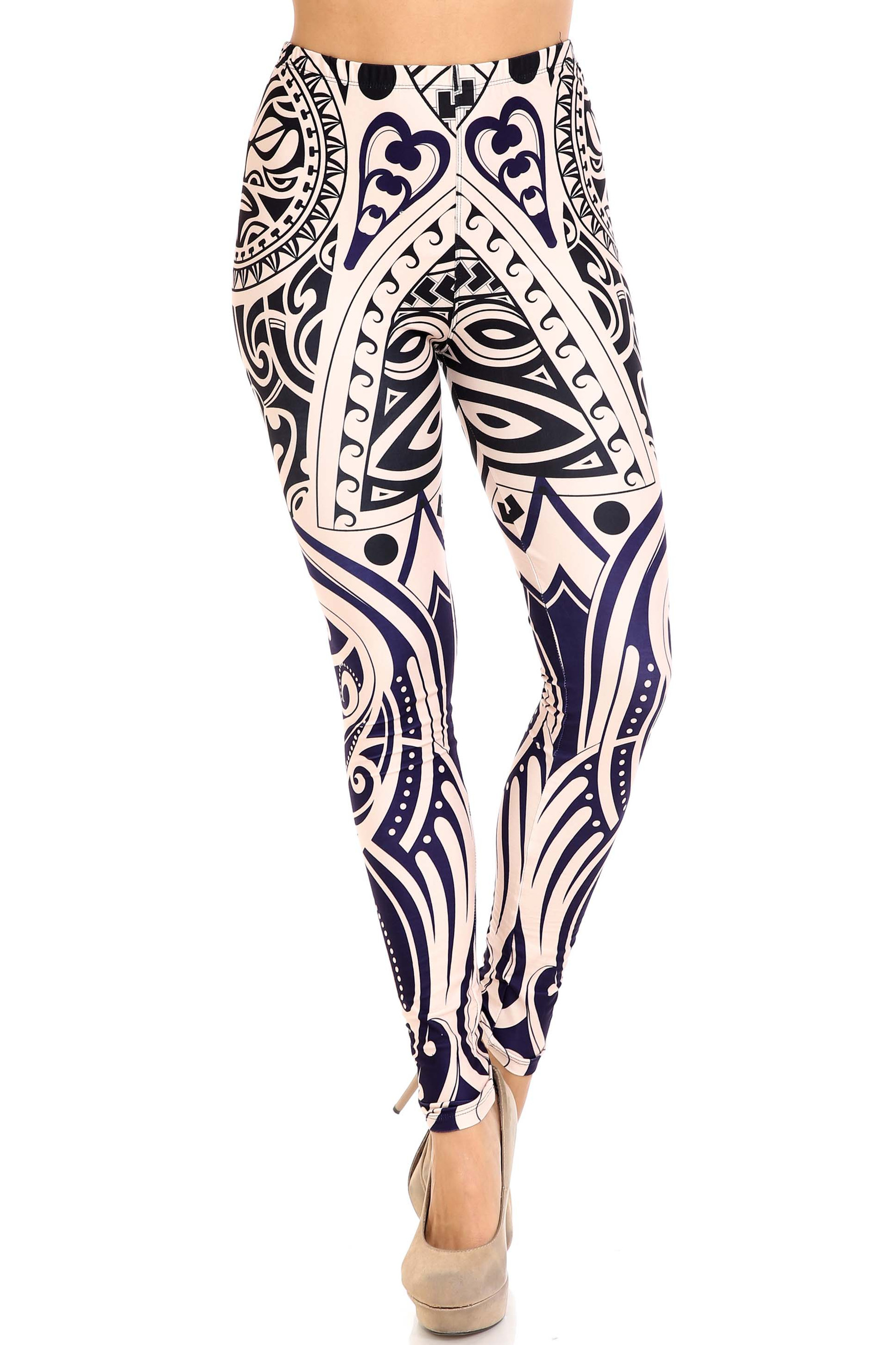 Front of mid rise Creamy Soft Valhalla Extra Plus Size Leggings - 3X-5X - USA Fashion™ with a full length hem and elastic waist.
