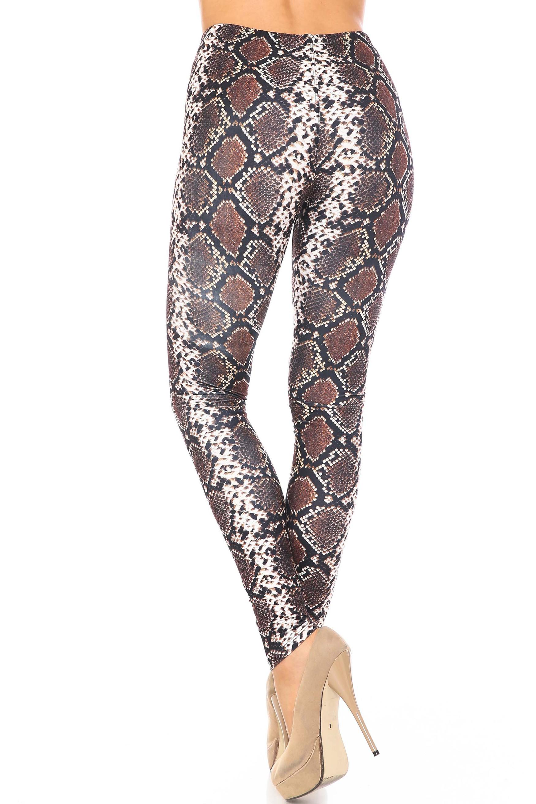 Back side image of Creamy Soft  Brown Boa Snake Plus Size Leggings - USA Fashion™