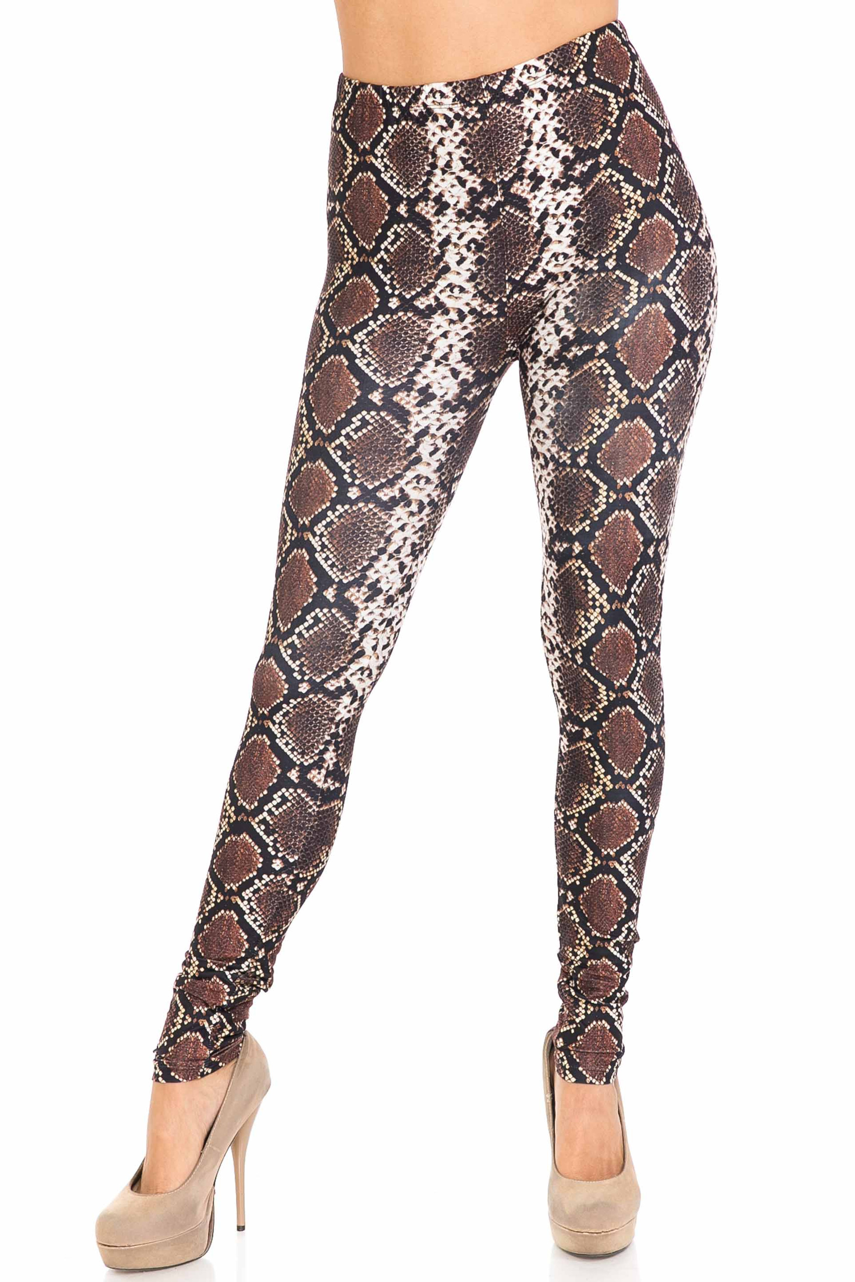 Front of Creamy Soft Brown Boa Extra Plus Size Leggings - 3X-5X - USA Fashion™ with a fitted skinny leg and full length hem.