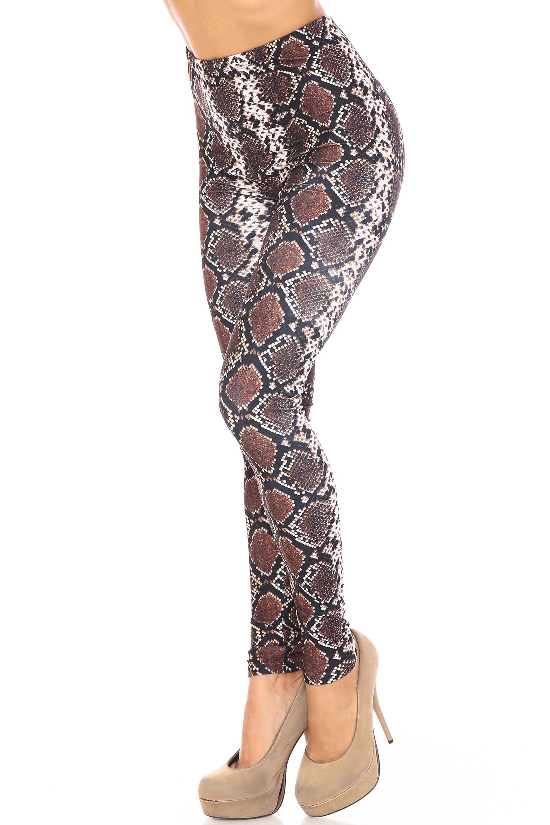 Left side of Creamy Soft Brown Boa Extra Plus Size Leggings - 3X-5X - USA Fashion™ shown styled with nude pumps.