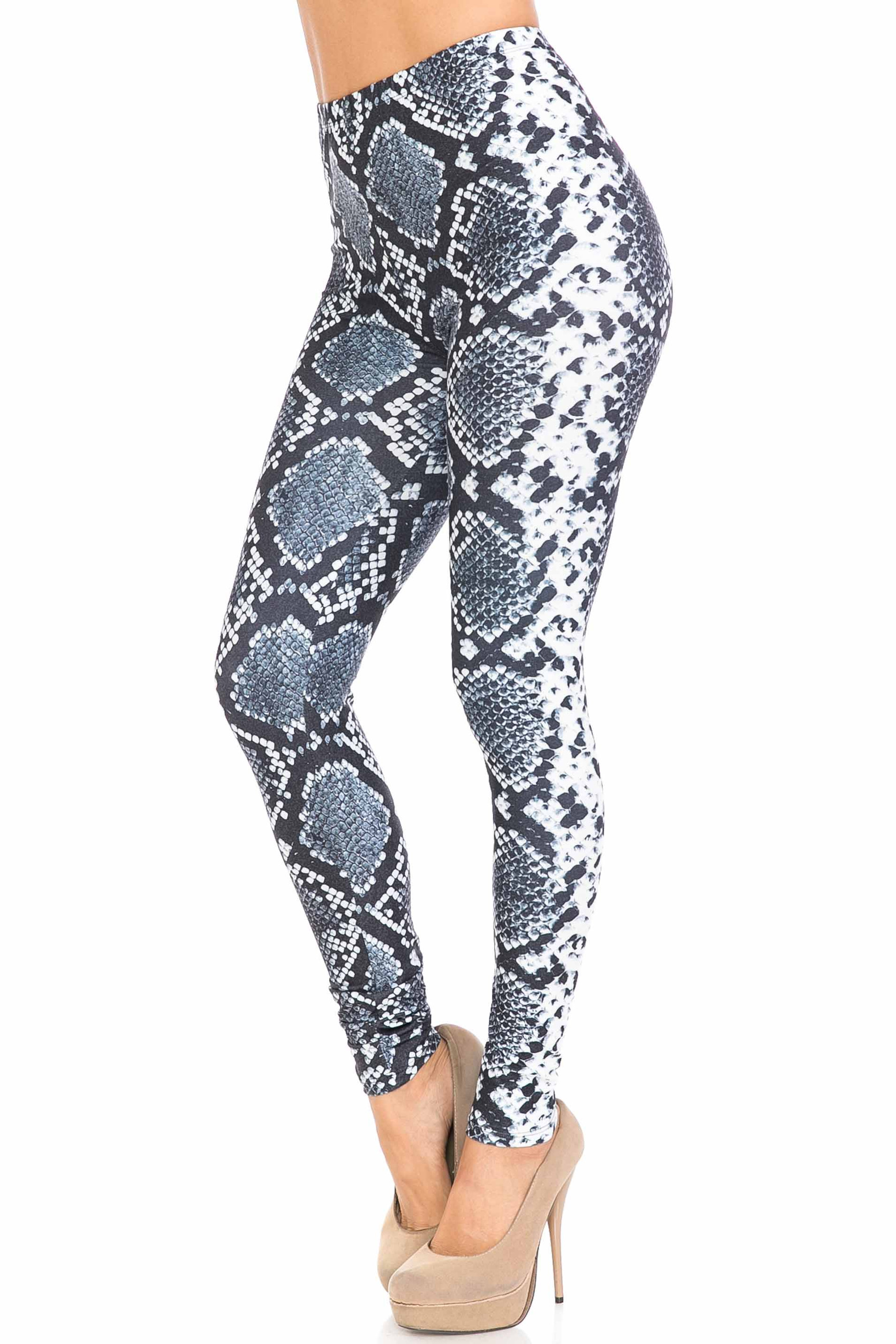 45 degree view of Creamy Soft Steel Blue Boa Extra Plus Size Leggings - 3X-5X - USA Fashion™ with a cool edgy snakeskin look.