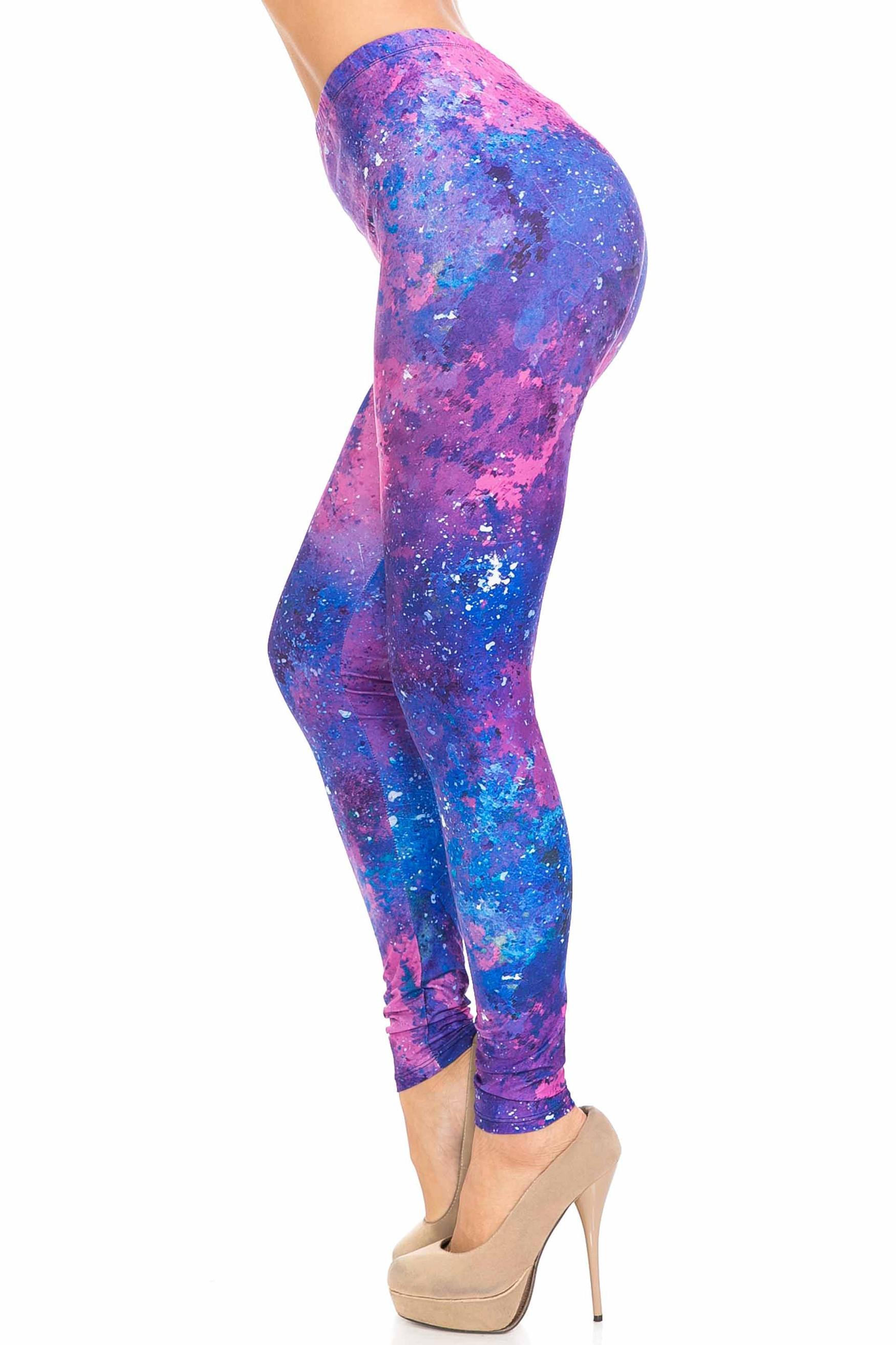 Left side image of Creamy Soft Blue Fuchsia Nebula Leggings - USA Fashion™