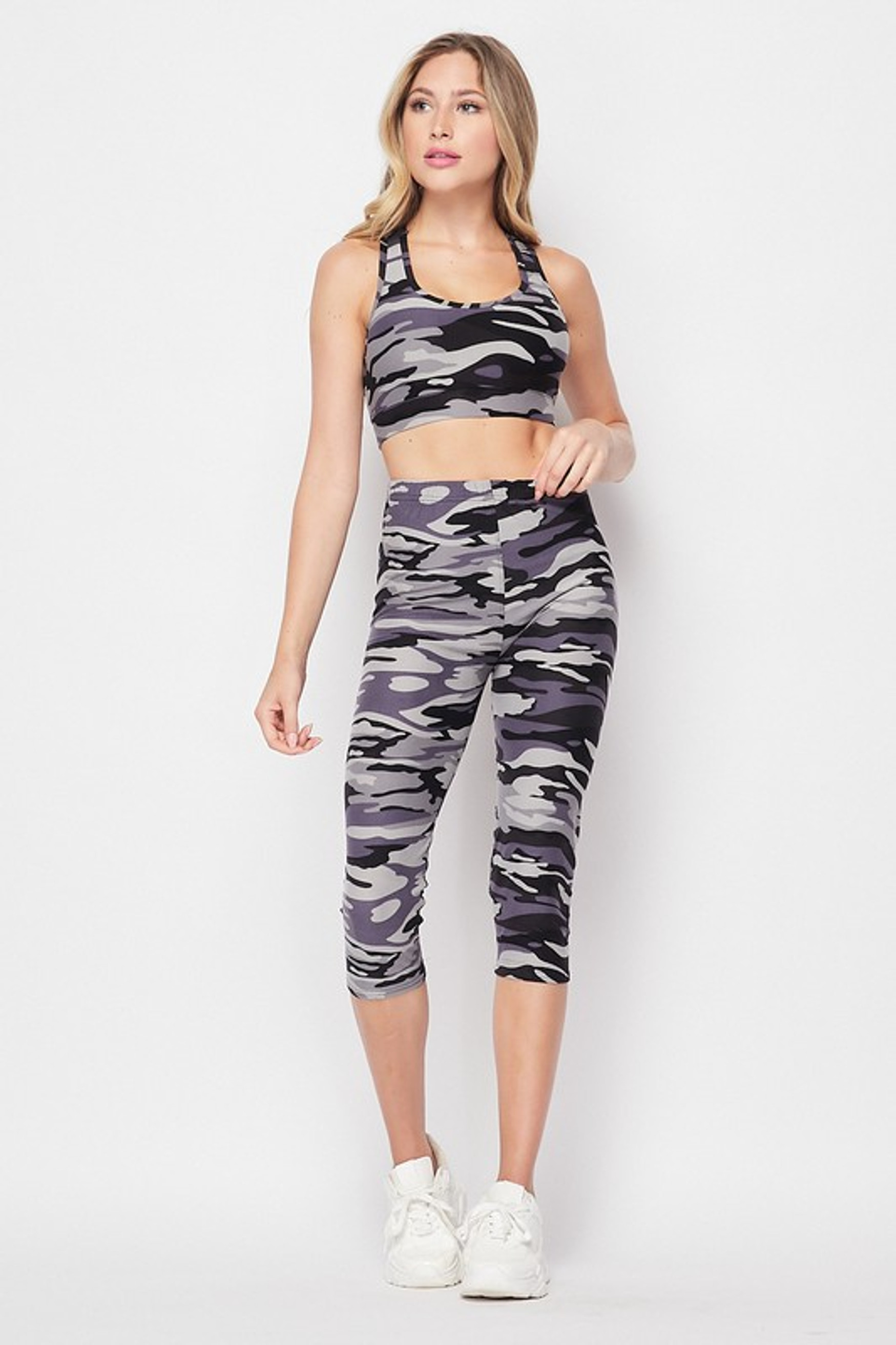 Front side image of 2 Piece Charcoal Camouflage Crop Top and Capri Set