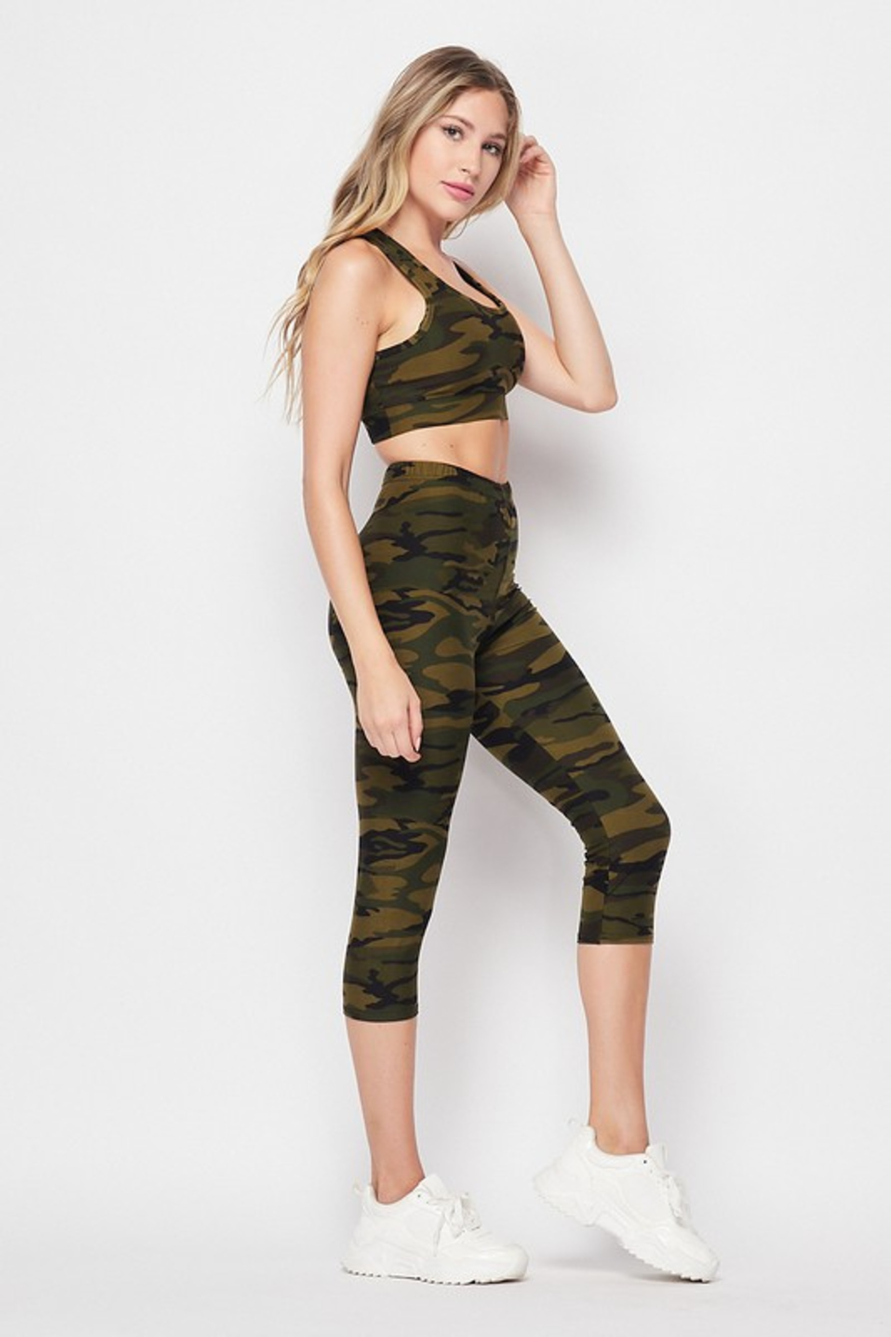 Right side of 2 Piece Green Camouflage Crop Top and Capris Set
