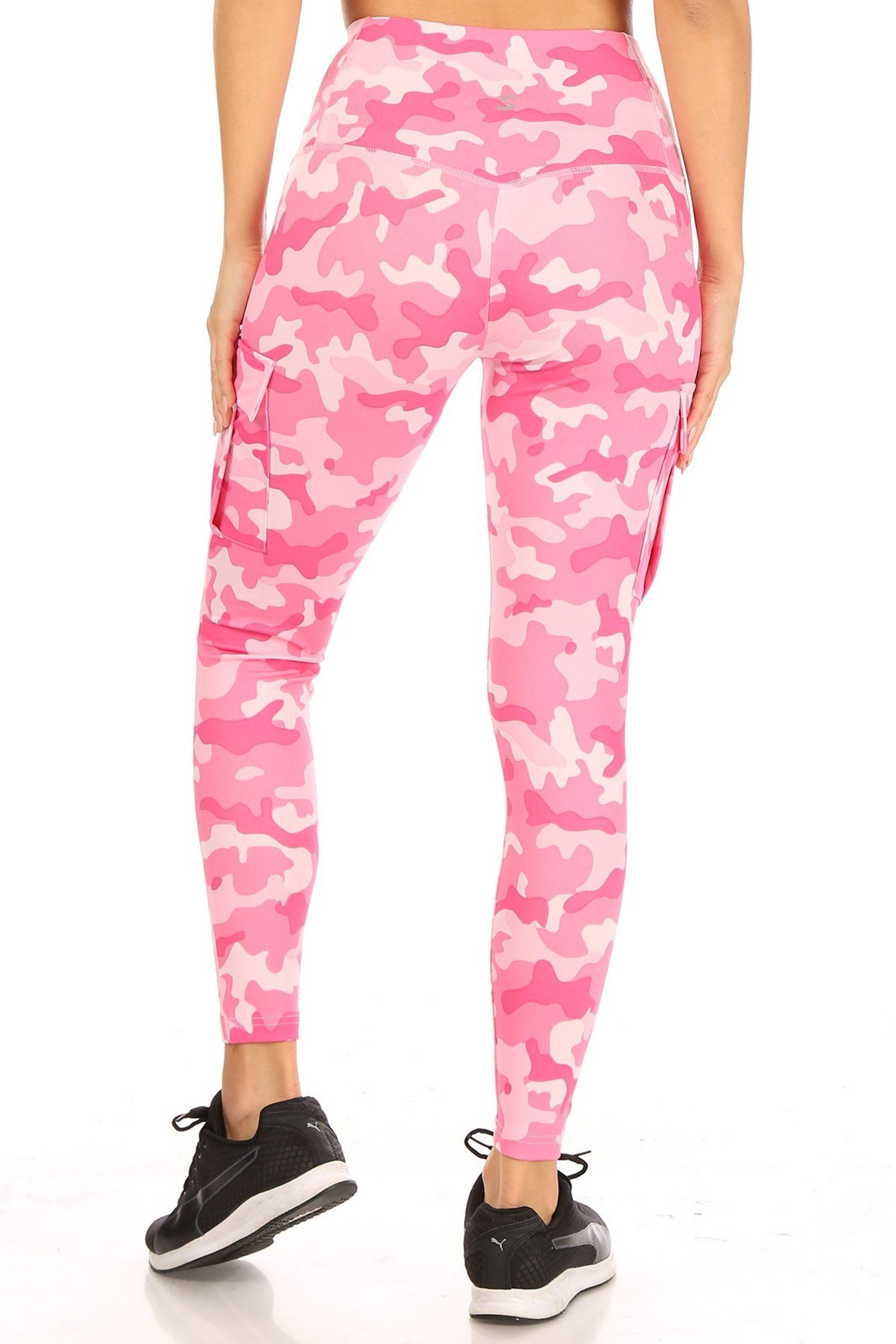 Back side of Cotton Candy Camouflage Sport Leggings with Cargo Pocket