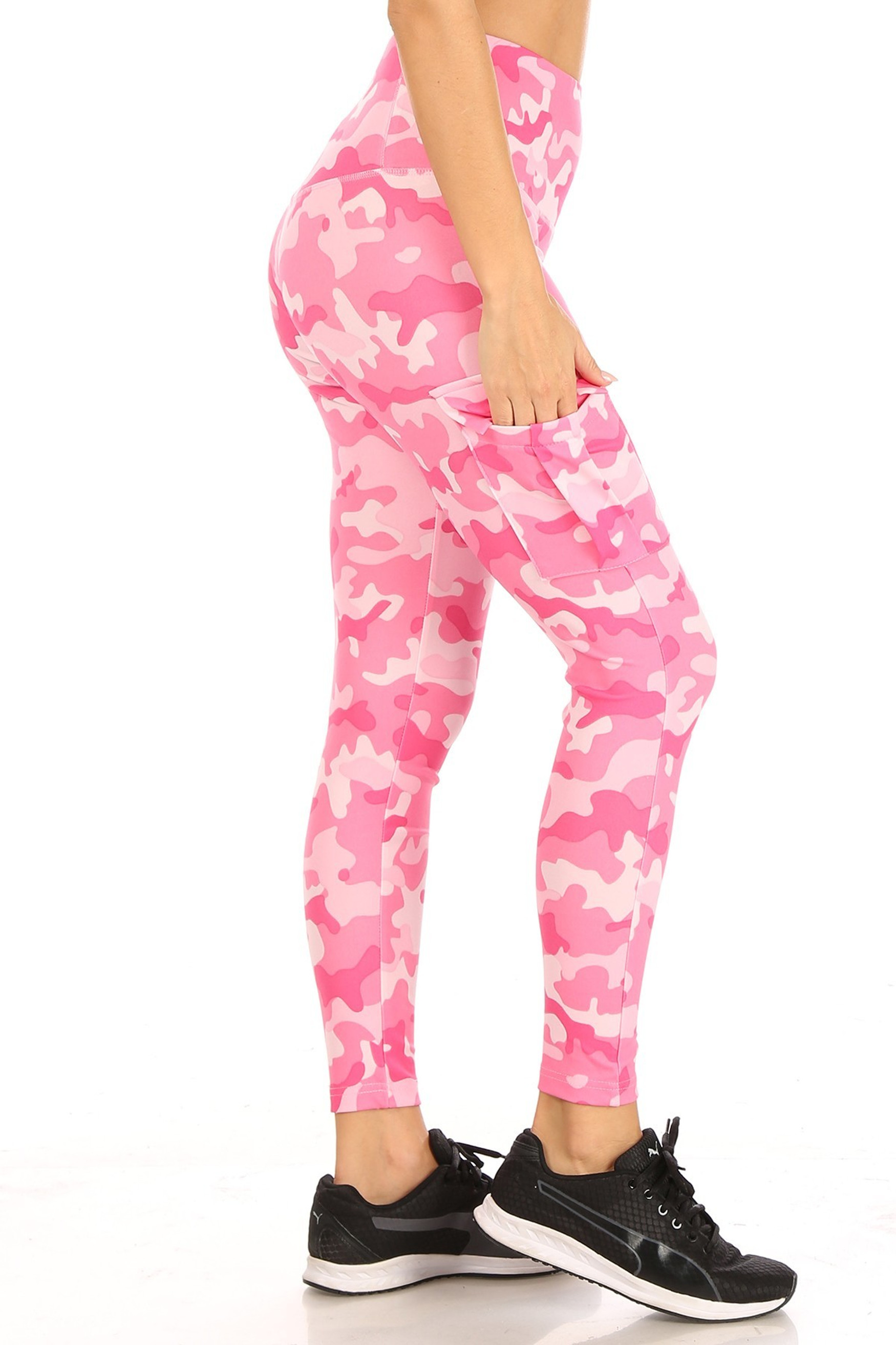 Right side Cotton Candy Camouflage Sport Leggings with Cargo Pocket
